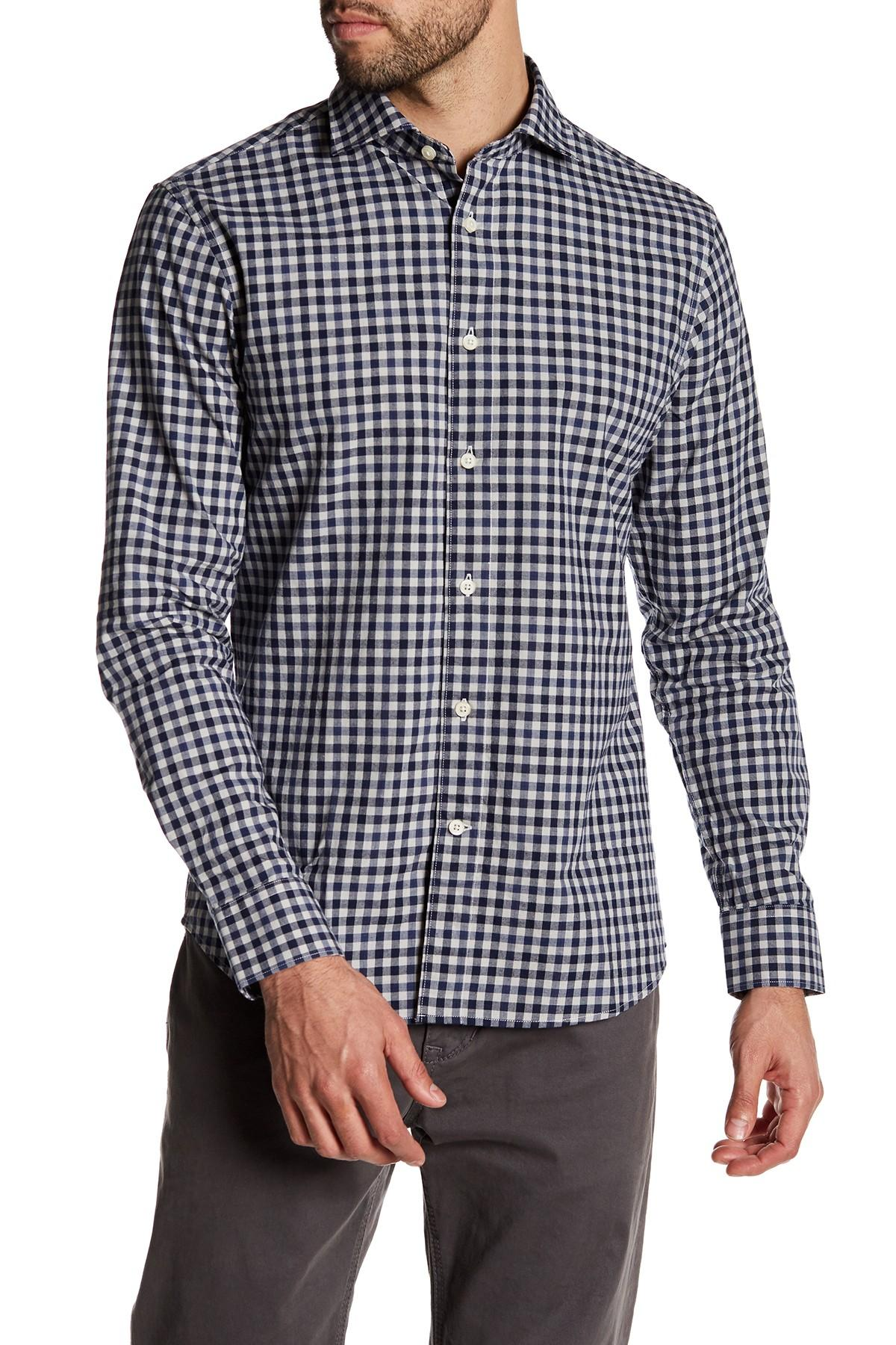 Slate And Stone Clothing : Slate stone long sleeve check trim fit shirt in blue for