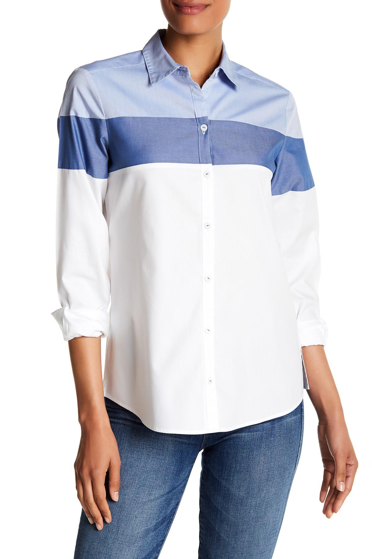 Foxcroft Long Sleeve Colorblock Shirt In White Lyst