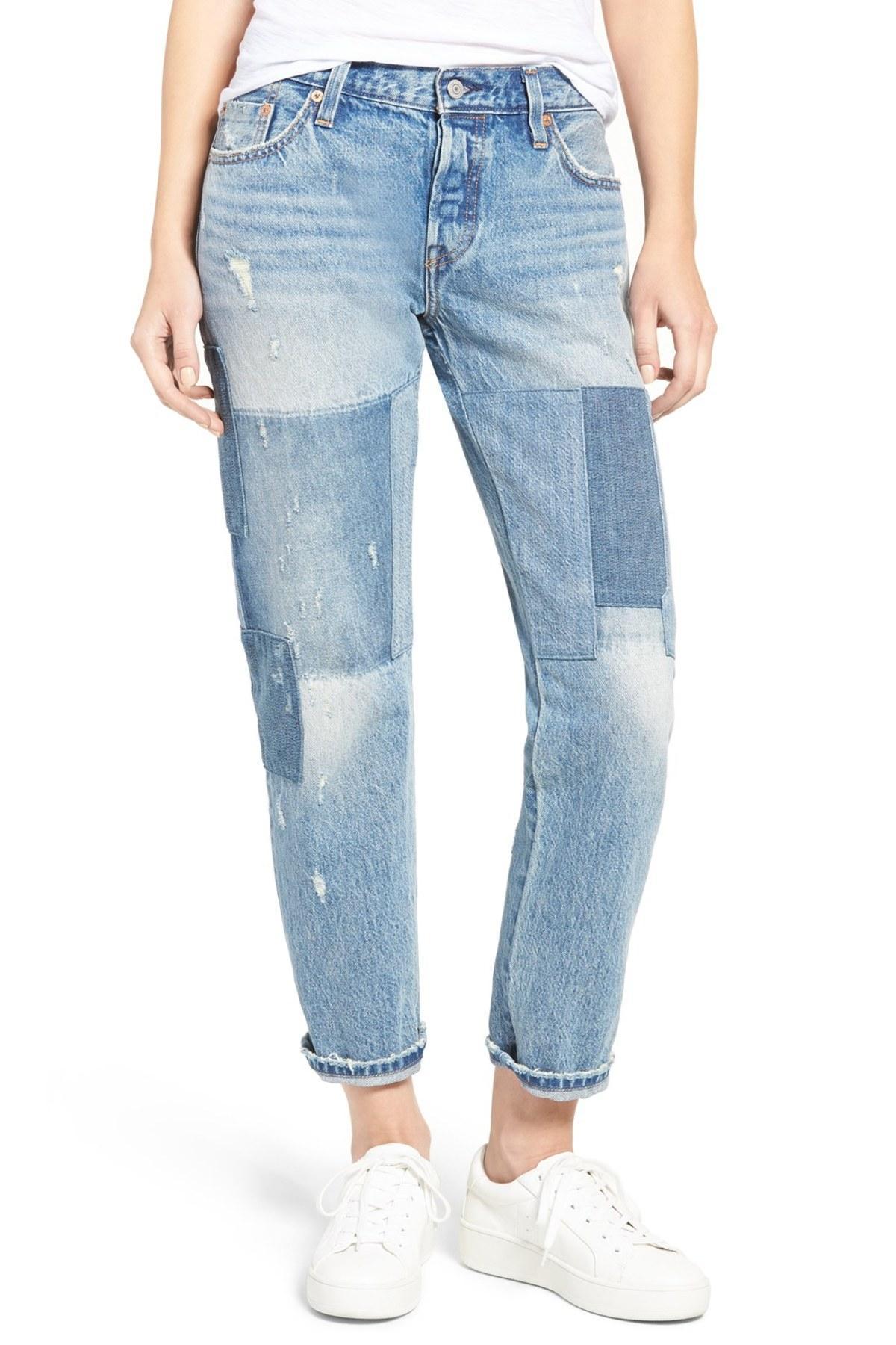 levi 39 s r 501 r ct boyfriend jeans stacked patch blue. Black Bedroom Furniture Sets. Home Design Ideas