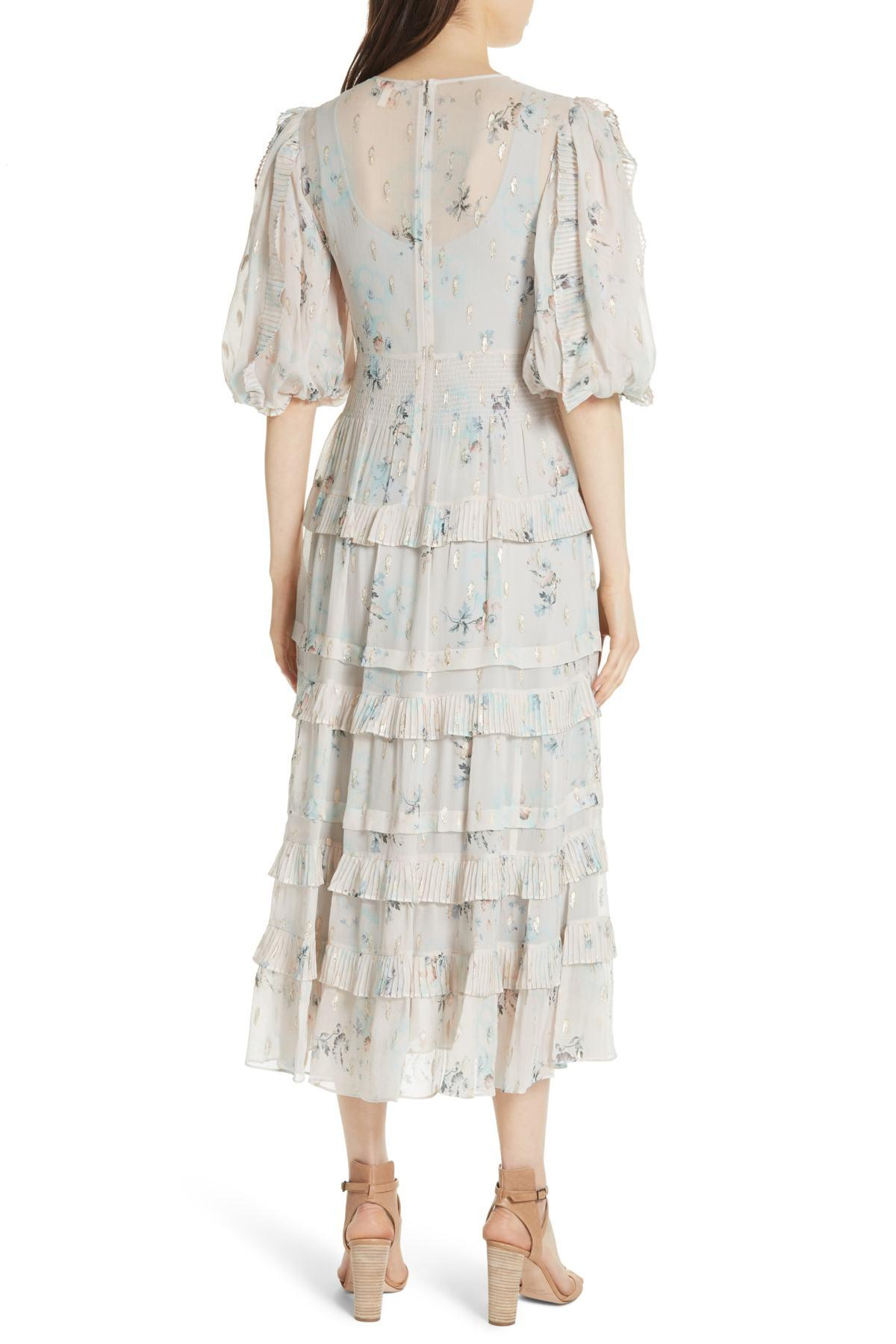 9f7c041c9 Lyst - Rebecca Taylor Metallic Faded Floral Midi Dress