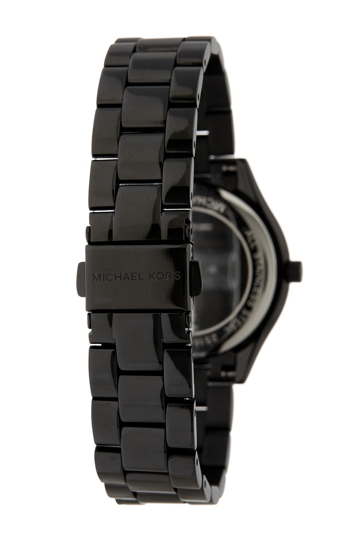 fe2893419445 Lyst - MICHAEL Michael Kors Women s Slim Runway Bracelet Watch in Black