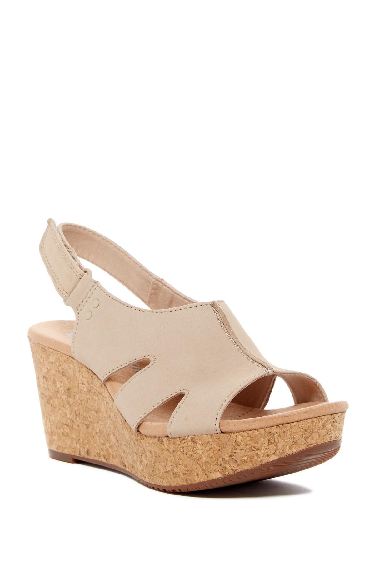 7dc4630fded Lyst - Clarks Annadel Bari Leather Platform Wedge Sandal in Natural