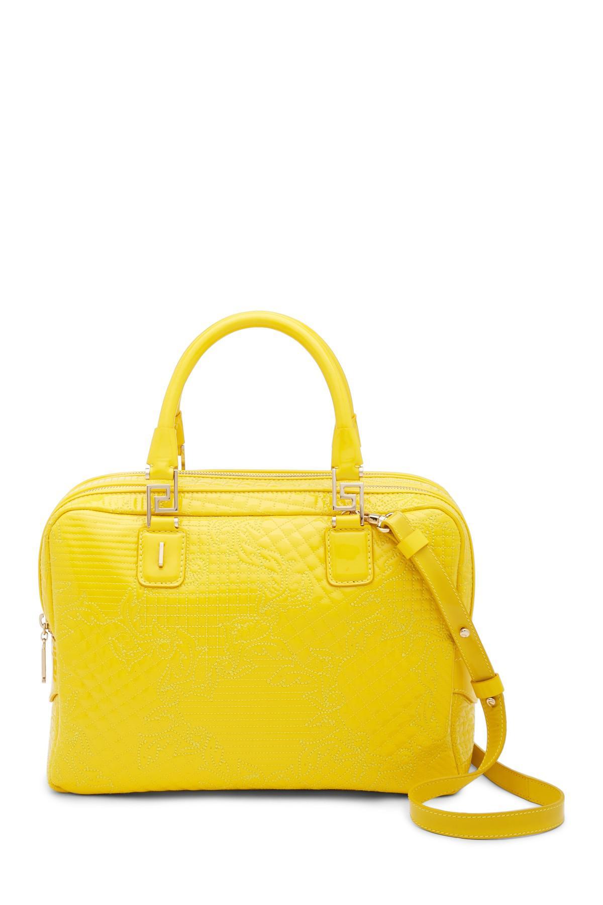 ab0d70c8aaf Versace Borsa Vernice Ricamo Leather Shoulder Bag in Yellow - Lyst