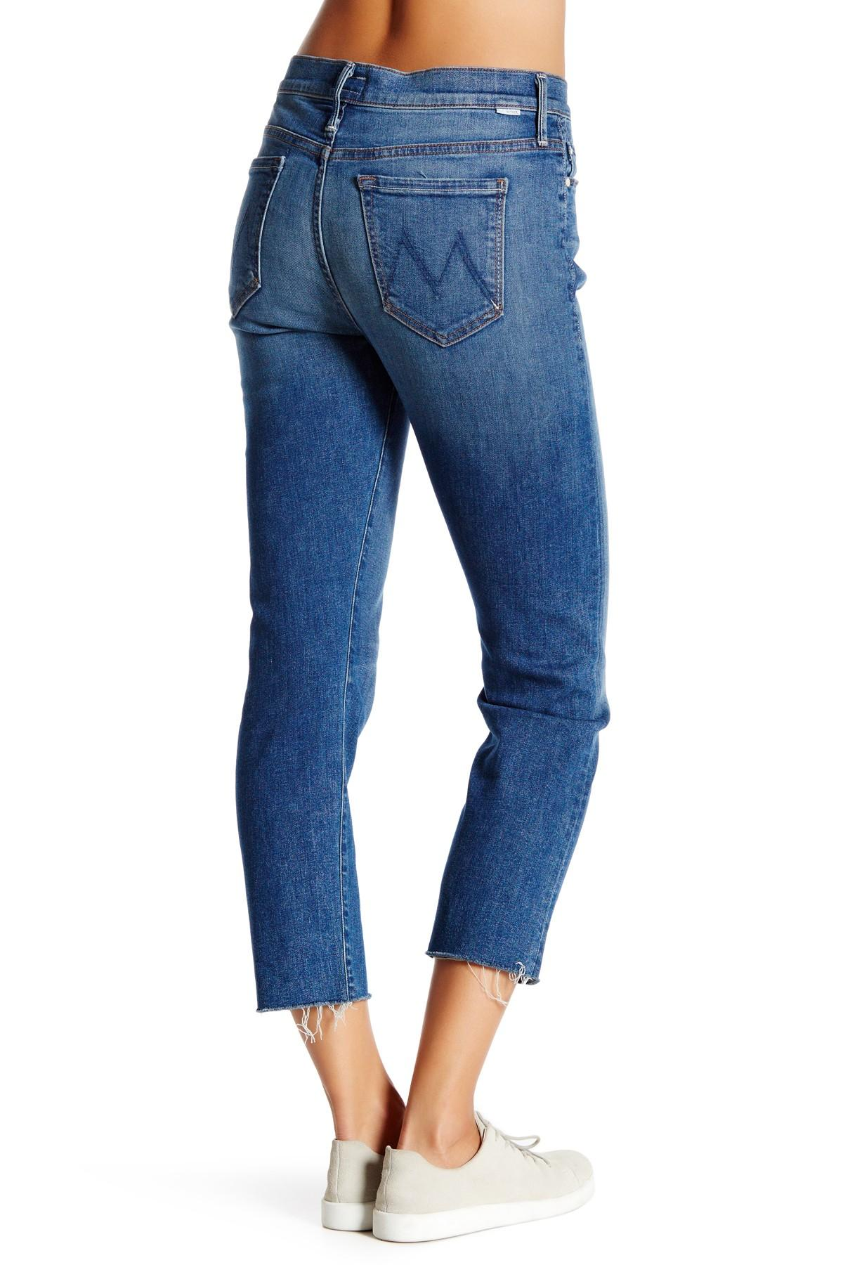 8724c33c31a1e6 Lyst - Mother The Vagabond Crop Fray Jean in Blue