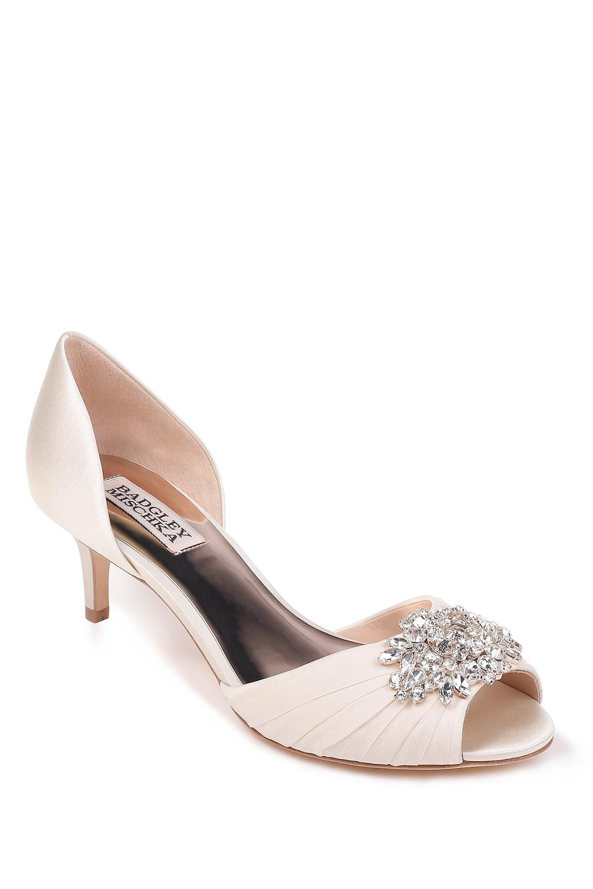 3dbf3774403 Lyst - Badgley Mischka Sabine Peep Toe Pump (women) in White