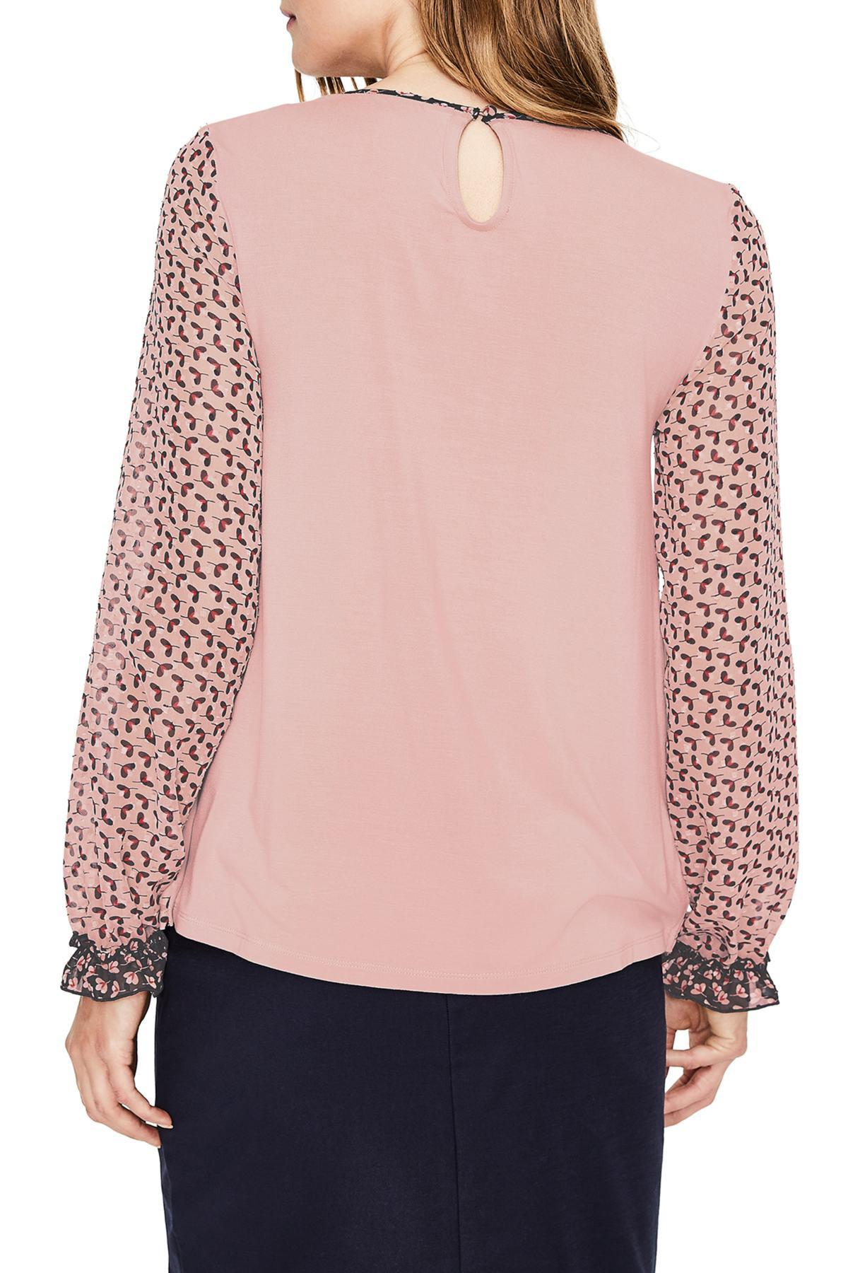 Lyst Boden Mix Media Contrast Detail Blouse In Pink Save 32 0
