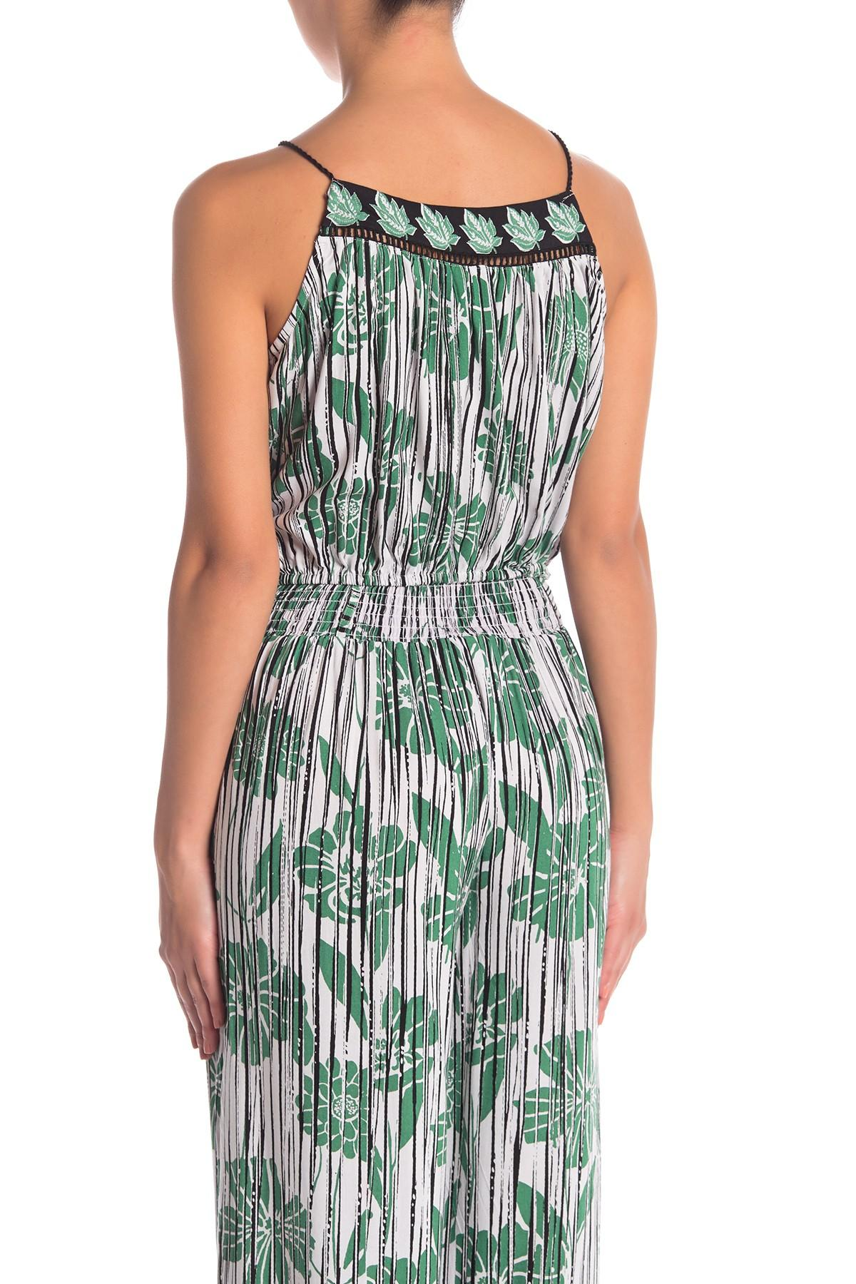 d340c5f002c077 Angie - Green Patterned Tie Strap Cami - Lyst. View fullscreen