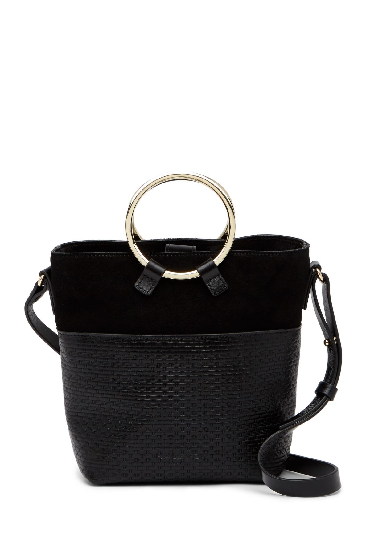61749a6db555 Lyst - Halston Small Embossed Leather Crossbody Bucket Bag in Black