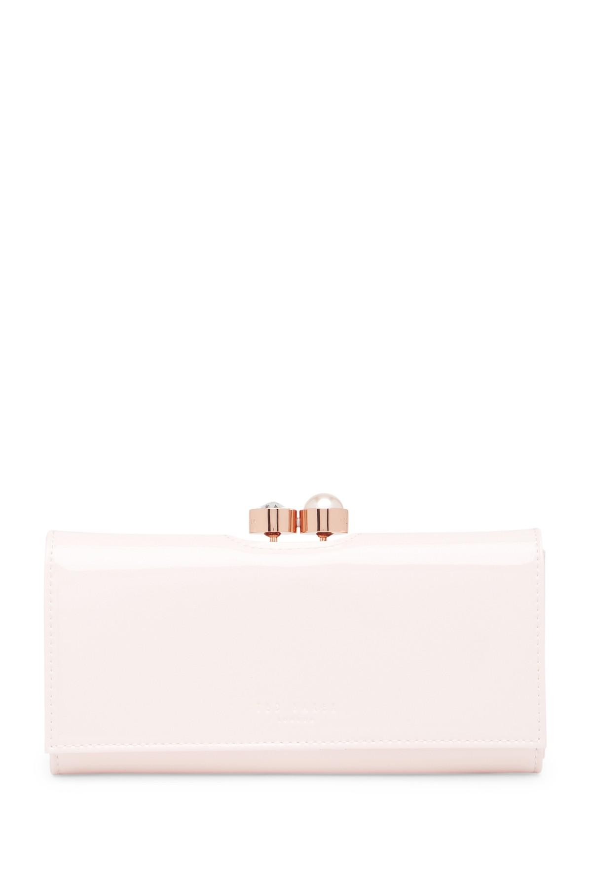 0d49615b05e Lyst - Ted Baker Cecilie Pearl Bobble Patent Matinee Wallet in Pink
