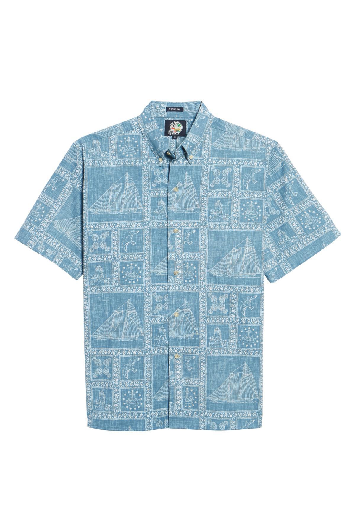 816c9458769e Lyst - Reyn Spooner Newport Sailor Classic Fit Print Sport Shirt in ...