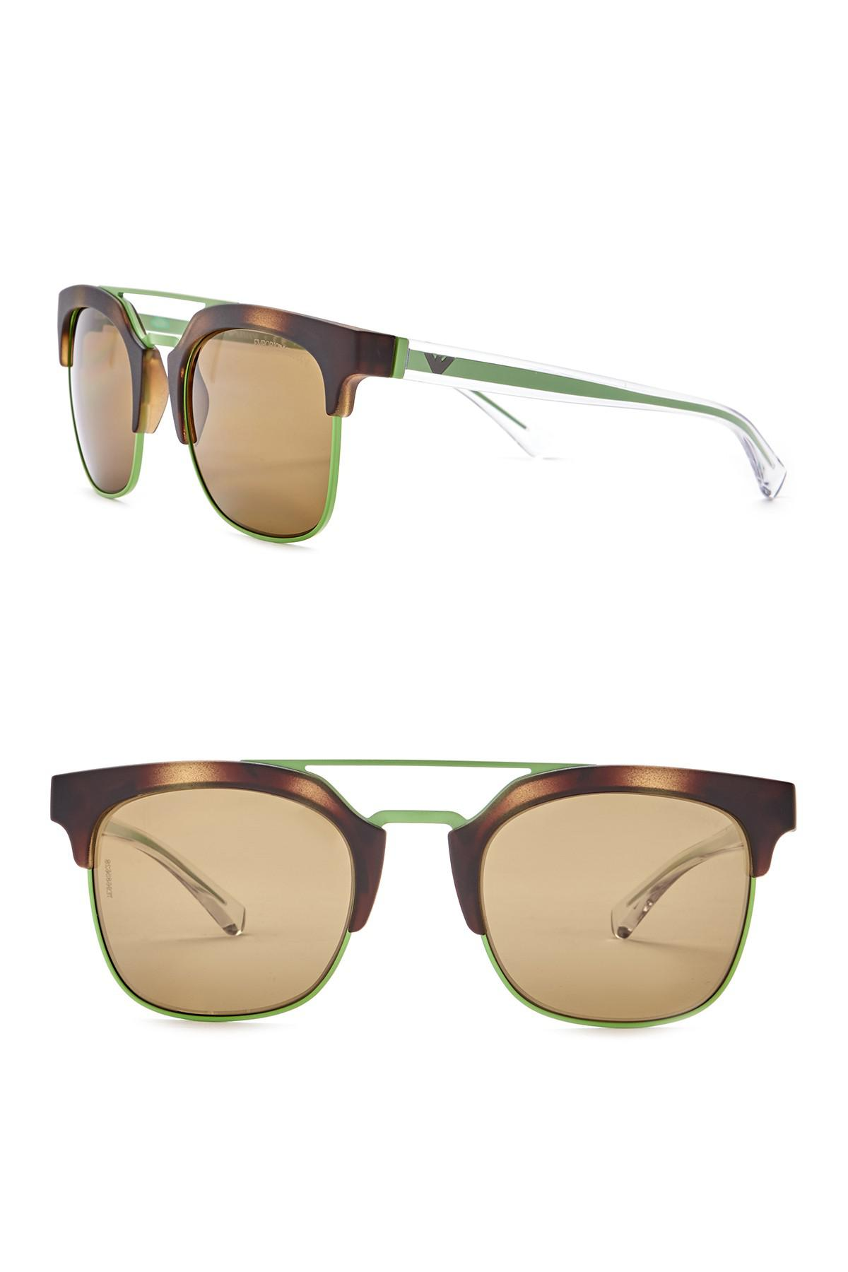 2189b9442d9 Emporio Armani Clubmaster 52mm Metal Frame Sunglasses for Men - Lyst
