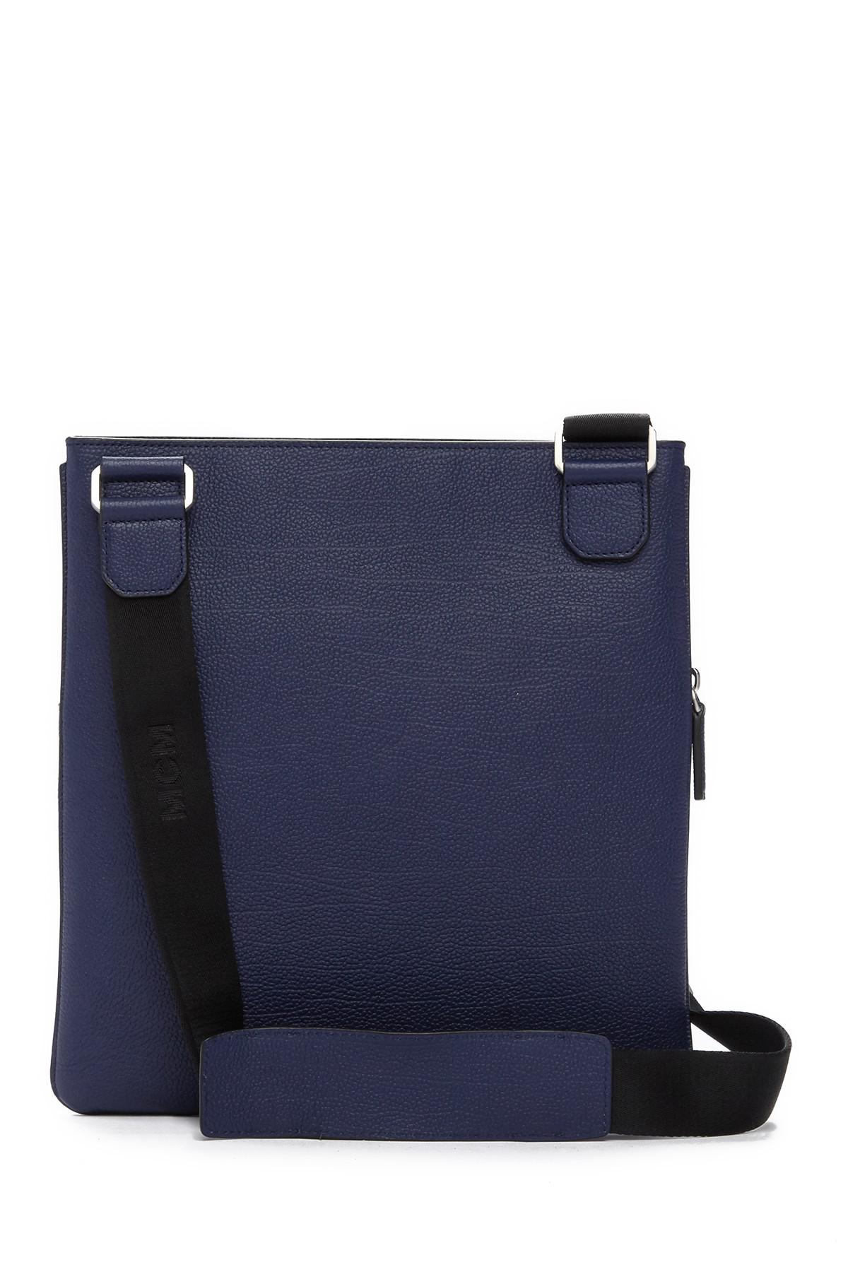 6a1bf66aa36e Lyst - MCM Ottomar Grain Leather Messenger Bag in Blue