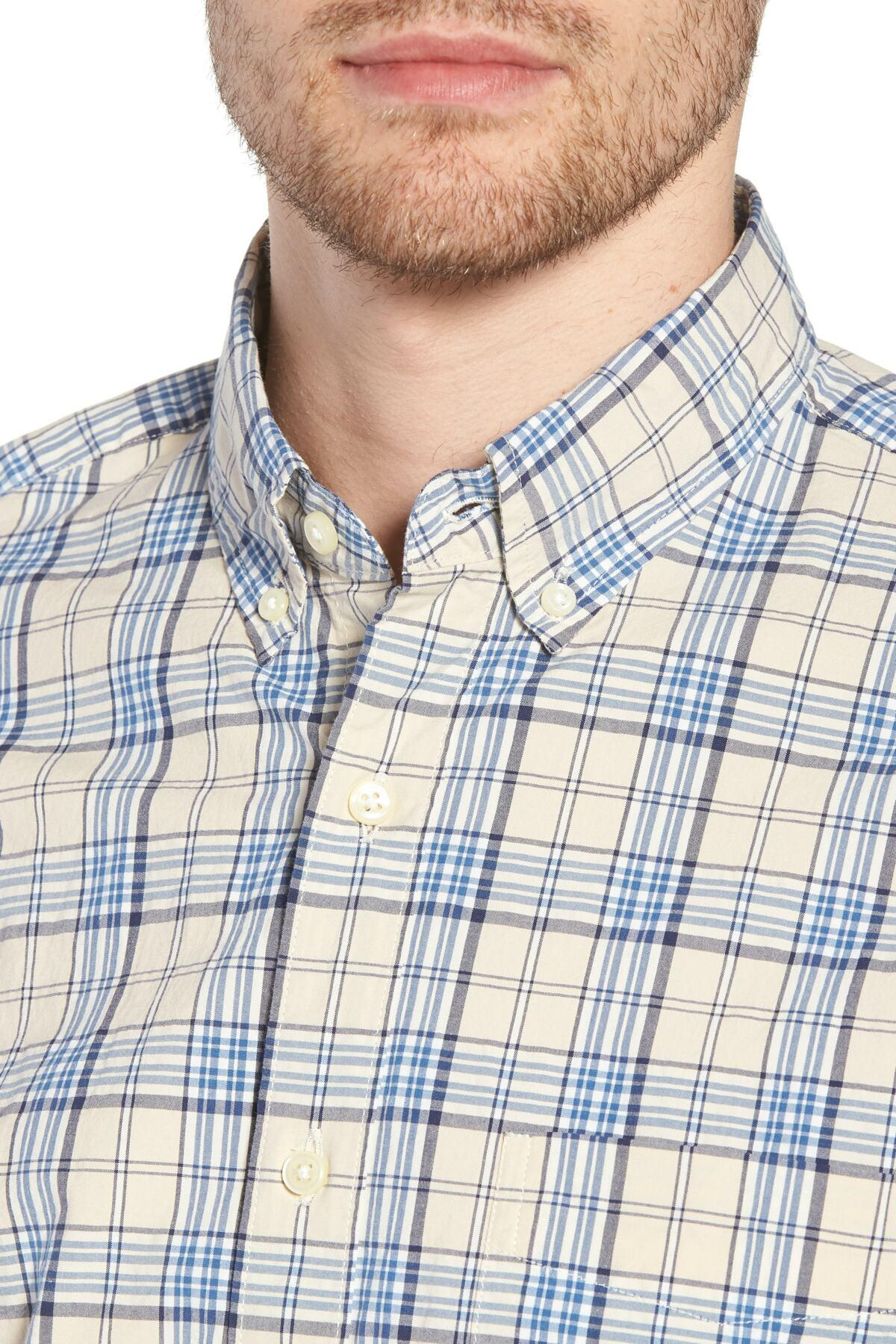 87b10814b20bf ... Blue Slim Fit Stretch Secret Wash Plaid Sport Shirt for Men -. View  fullscreen