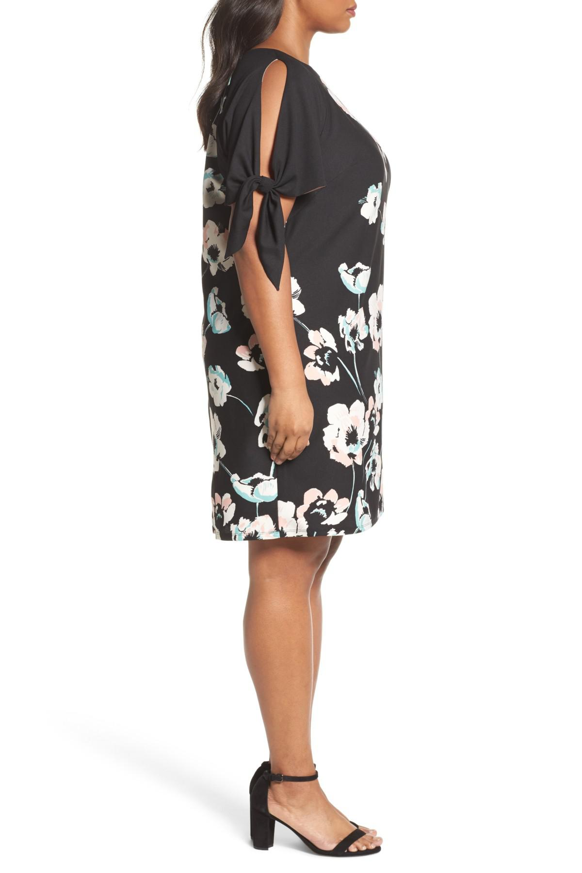 5728bf59271 Lyst - Vince Camuto Slit Sleeve Floral Shift Dress (plus Size) in Black