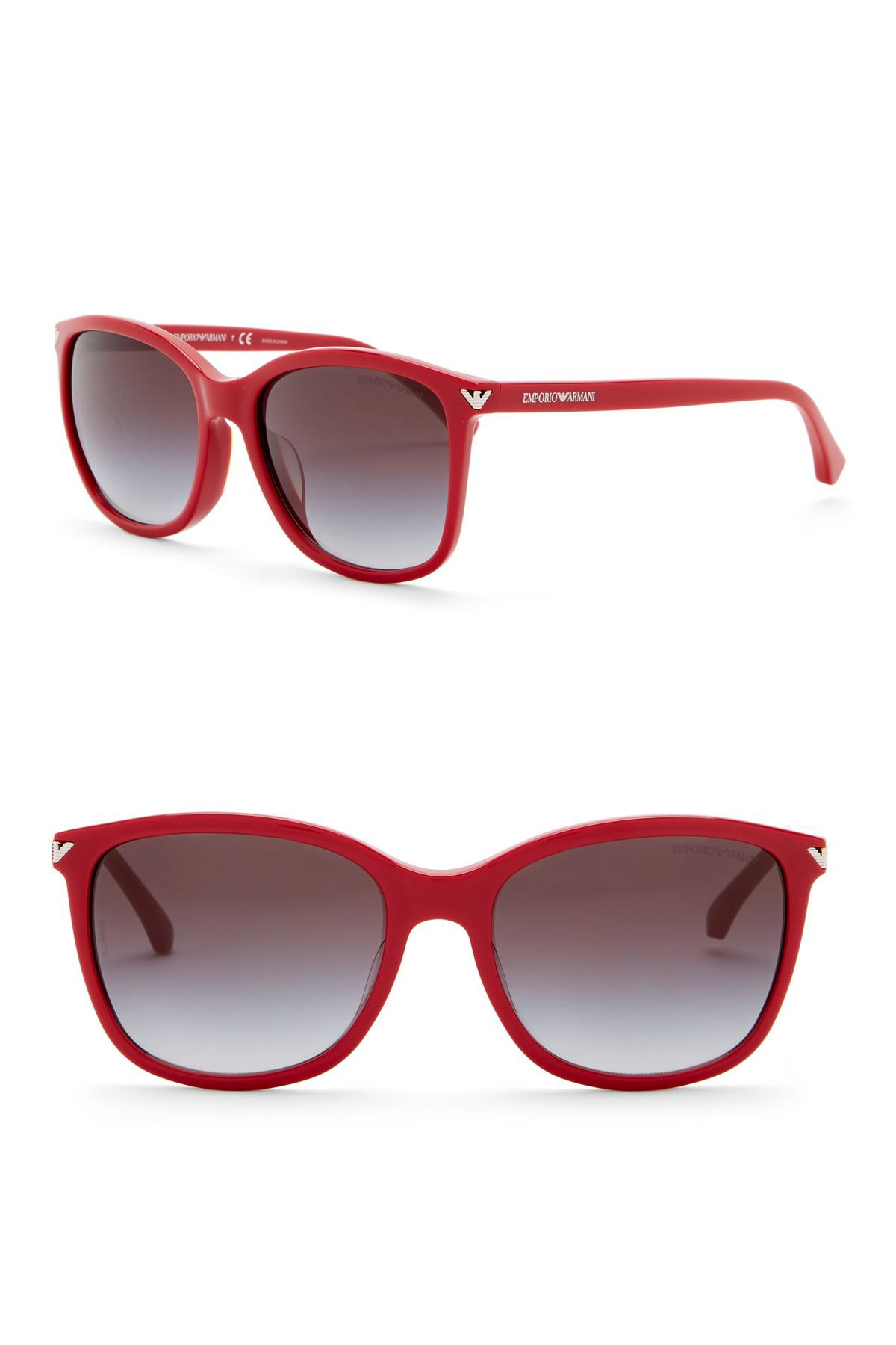 5d555d23a8e6 Lyst - Emporio Armani 56mm Oversized Acetate Frame Sunglasses in Red