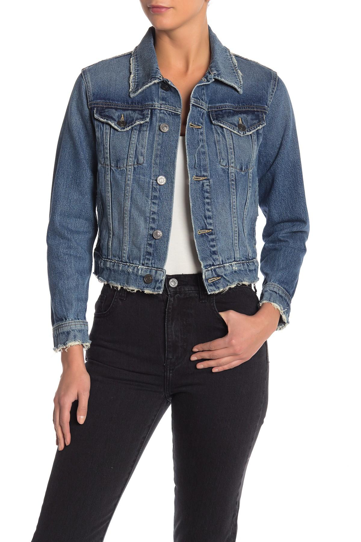 17d3a2986 Lyst - Current Elliott The Baby Trucker Jean Jacket in Blue