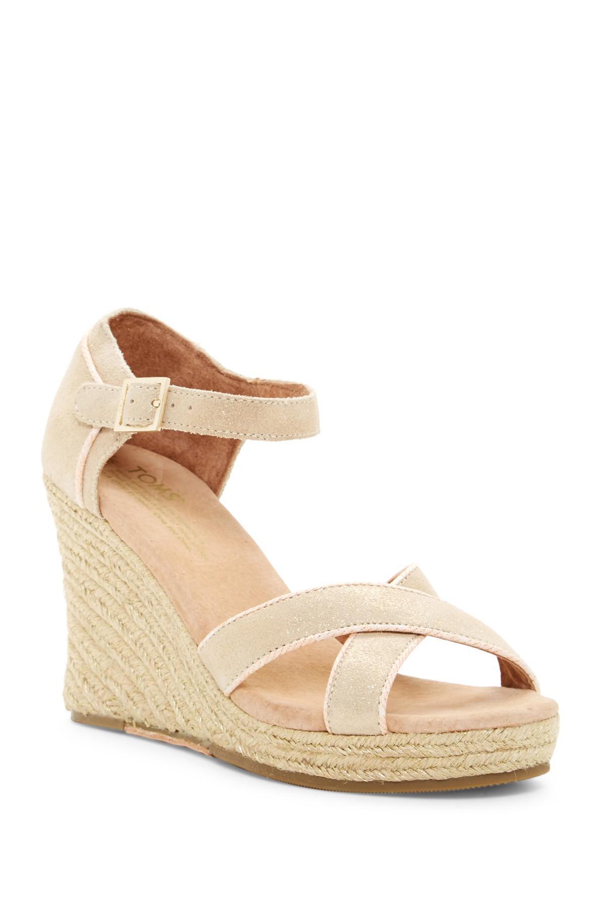 faf15f34598 Lyst - TOMS Metallic Suede Wedge Espadrille Wedding Sandal in Natural