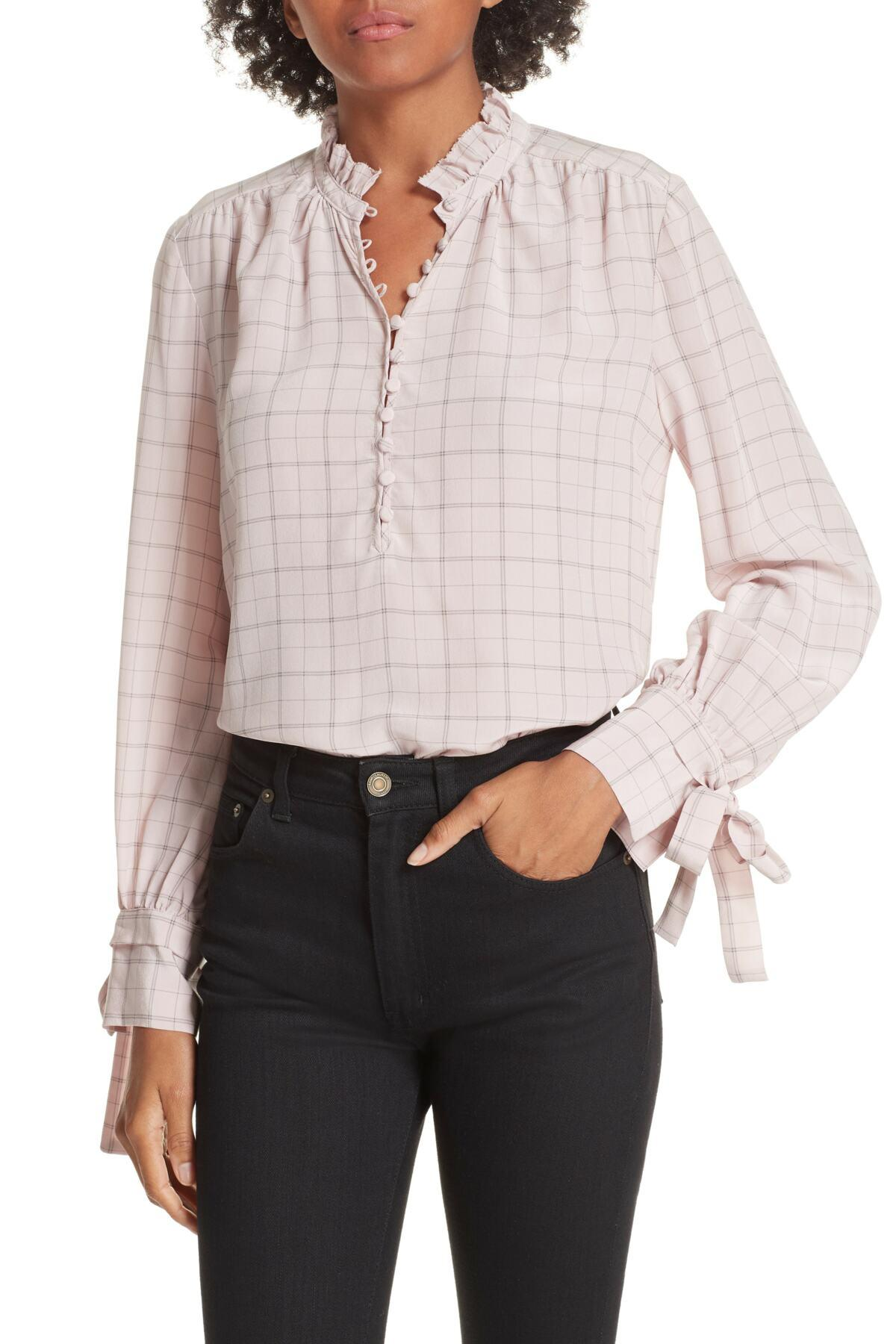709c8f5d6e5774 Lyst - Rebecca Taylor Plaid Ruffle Silk Blouse in Pink - Save ...