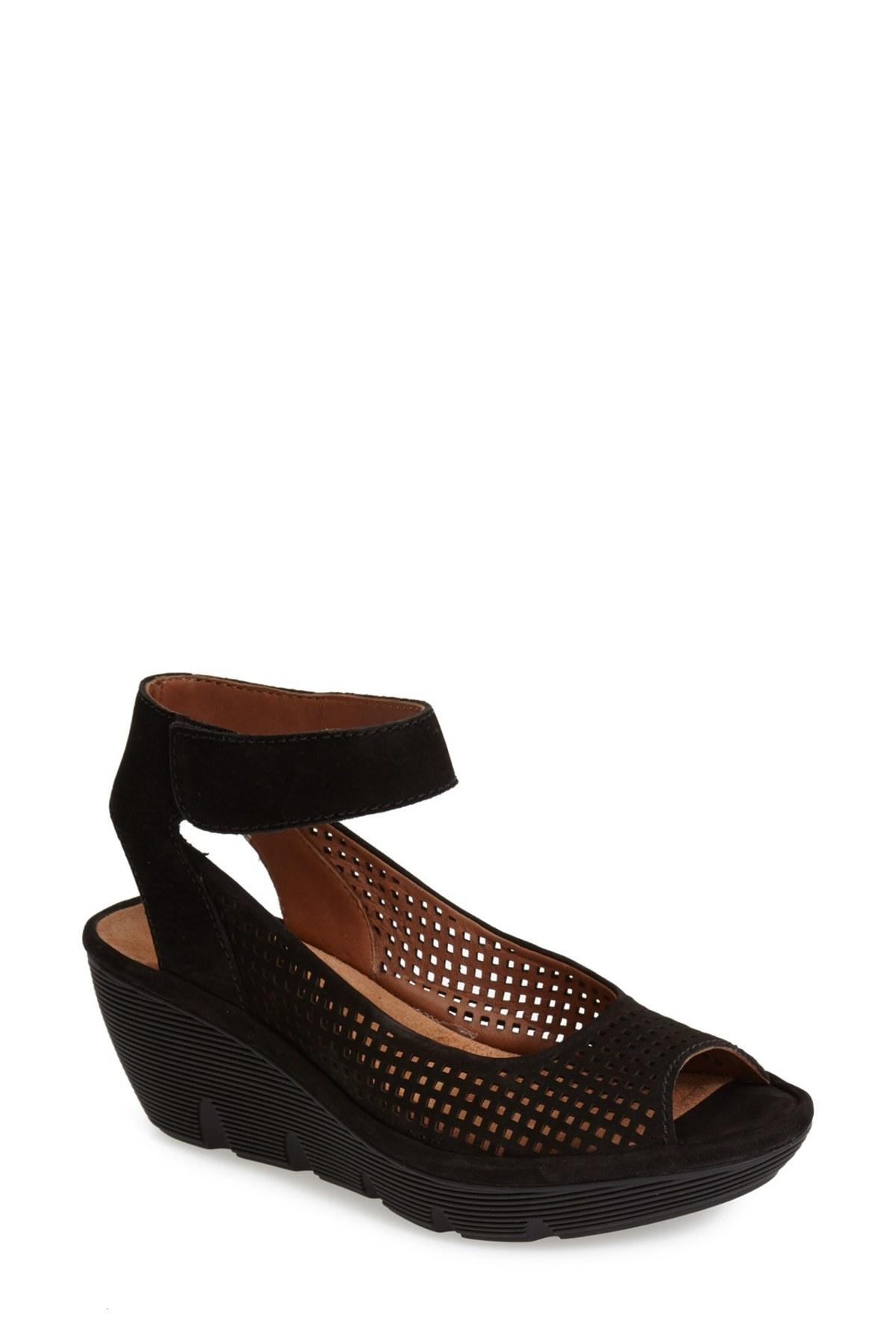 Lyst Clarks Clarene Prima Leather Wedge Sandal In Black
