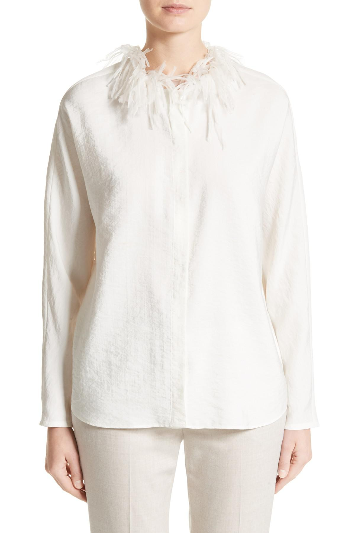 6e7a757f1a6b3 Lyst - Fabiana Filippi Silk Blend Twill Blouse With Organza Collar ...
