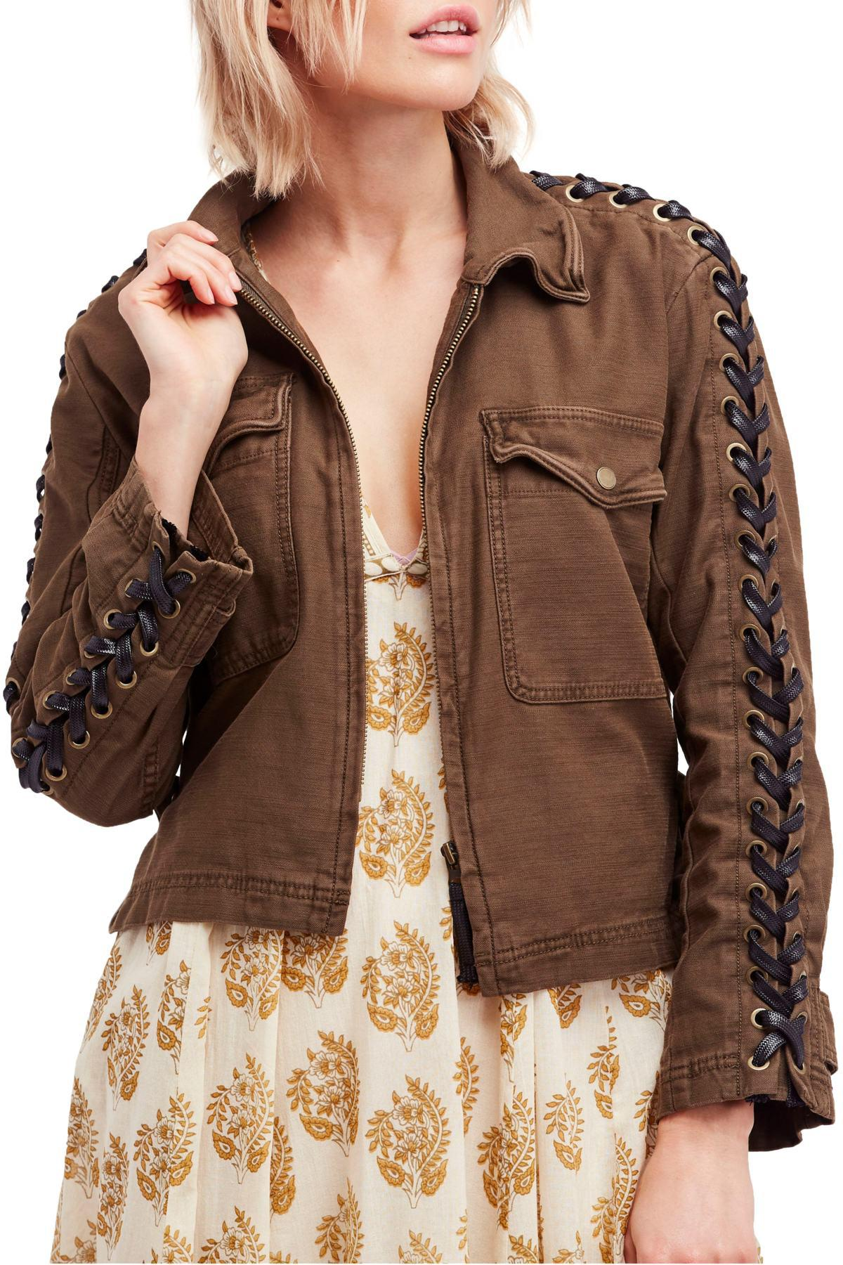 5d571f71f0 Lyst - Free People Faye Military Jacket in Brown