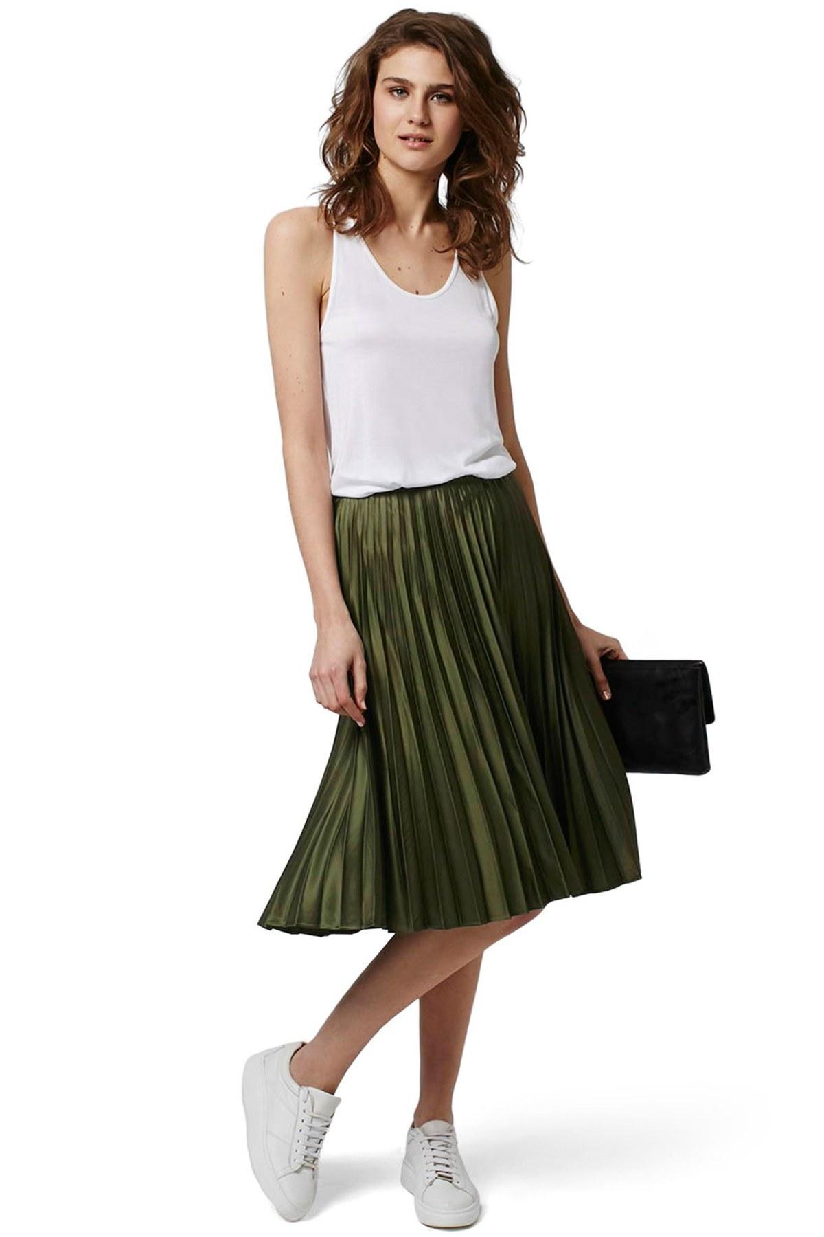 topshop pleated satin midi skirt in green lyst