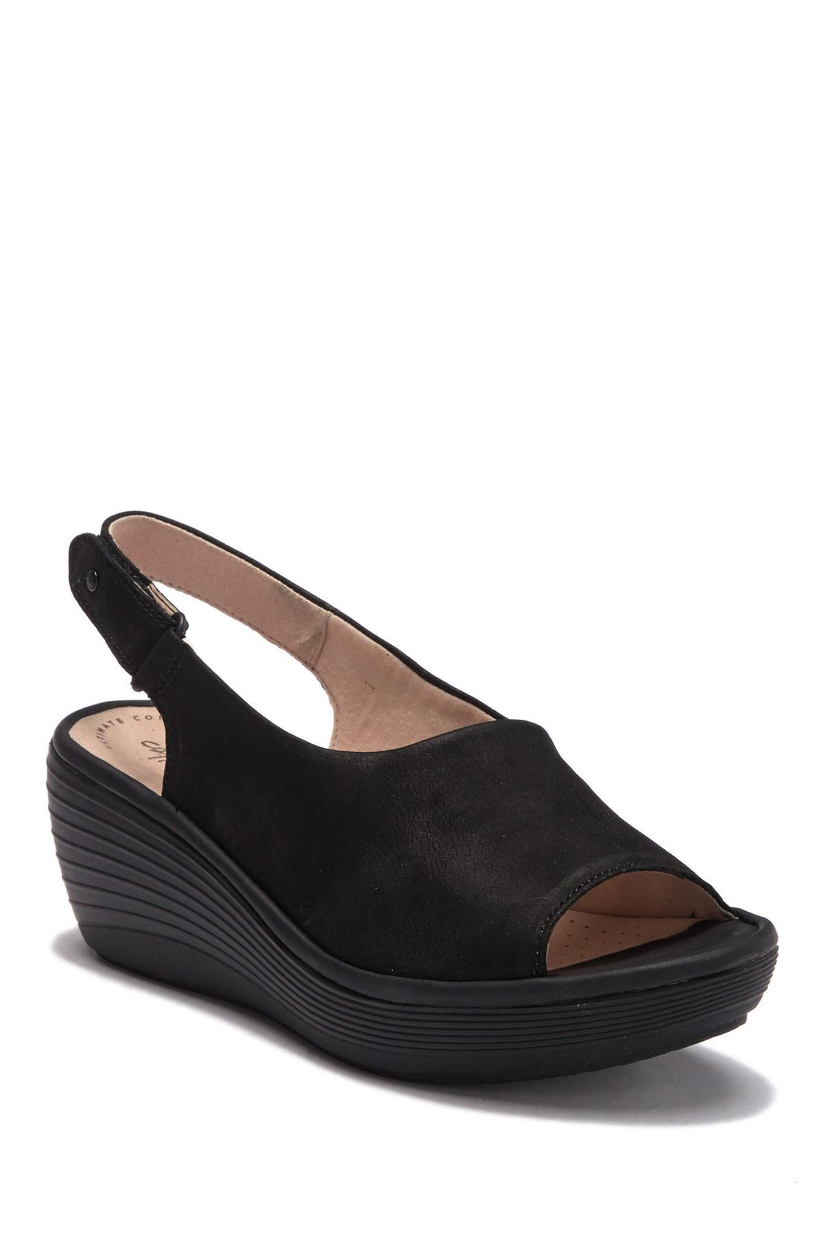 9b2abb51f0e Clarks Reedly Shaina Wedge Sandal in Black - Save 40% - Lyst