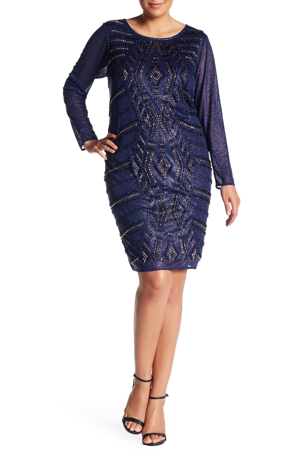 Marina beaded glitter sheath dress plus size in blue lyst for Nordstrom rack dresses pour mariage