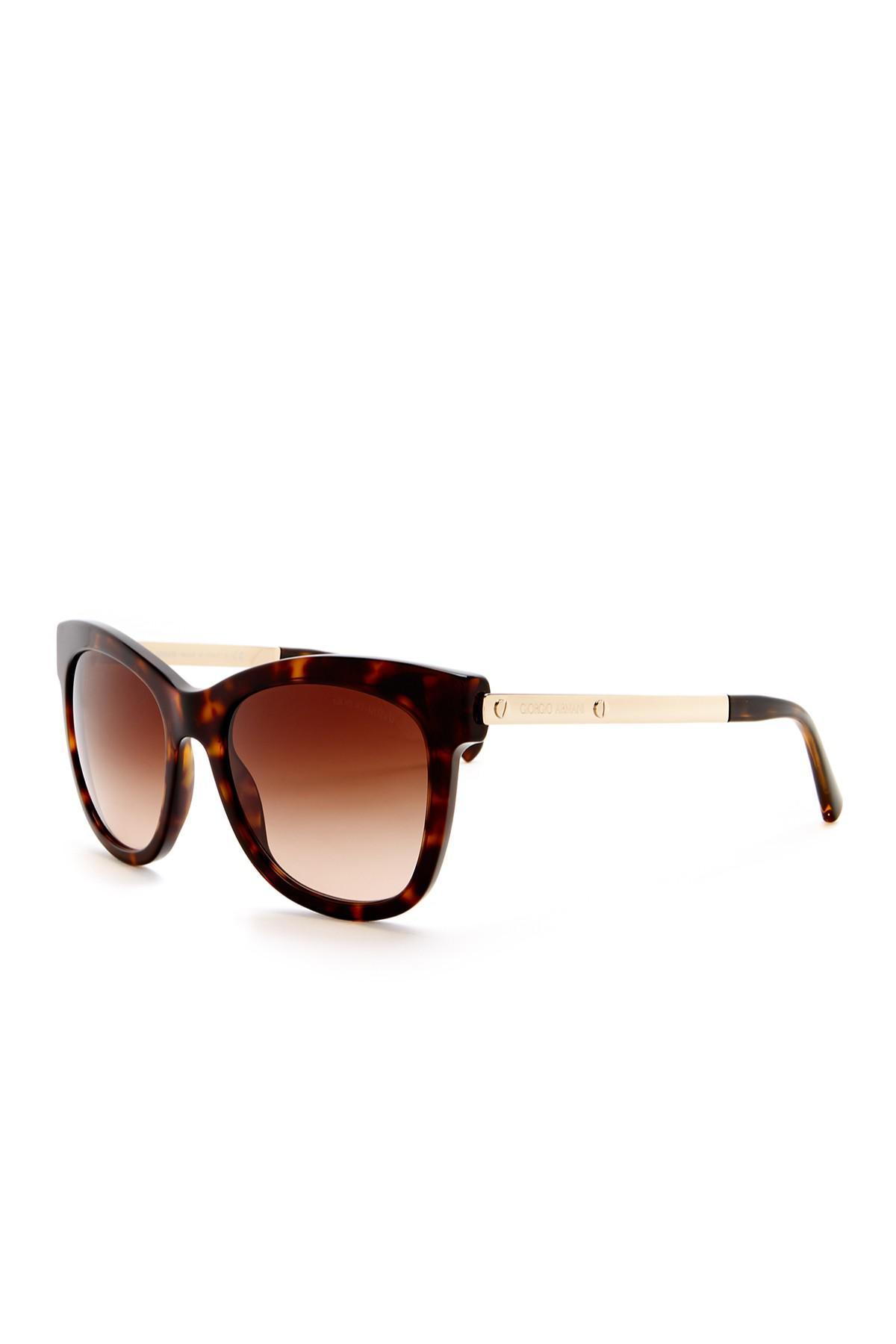 505a1fe0e6 Lyst - Giorgio Armani Women s Modified Cat Eye Sunglasses in Brown