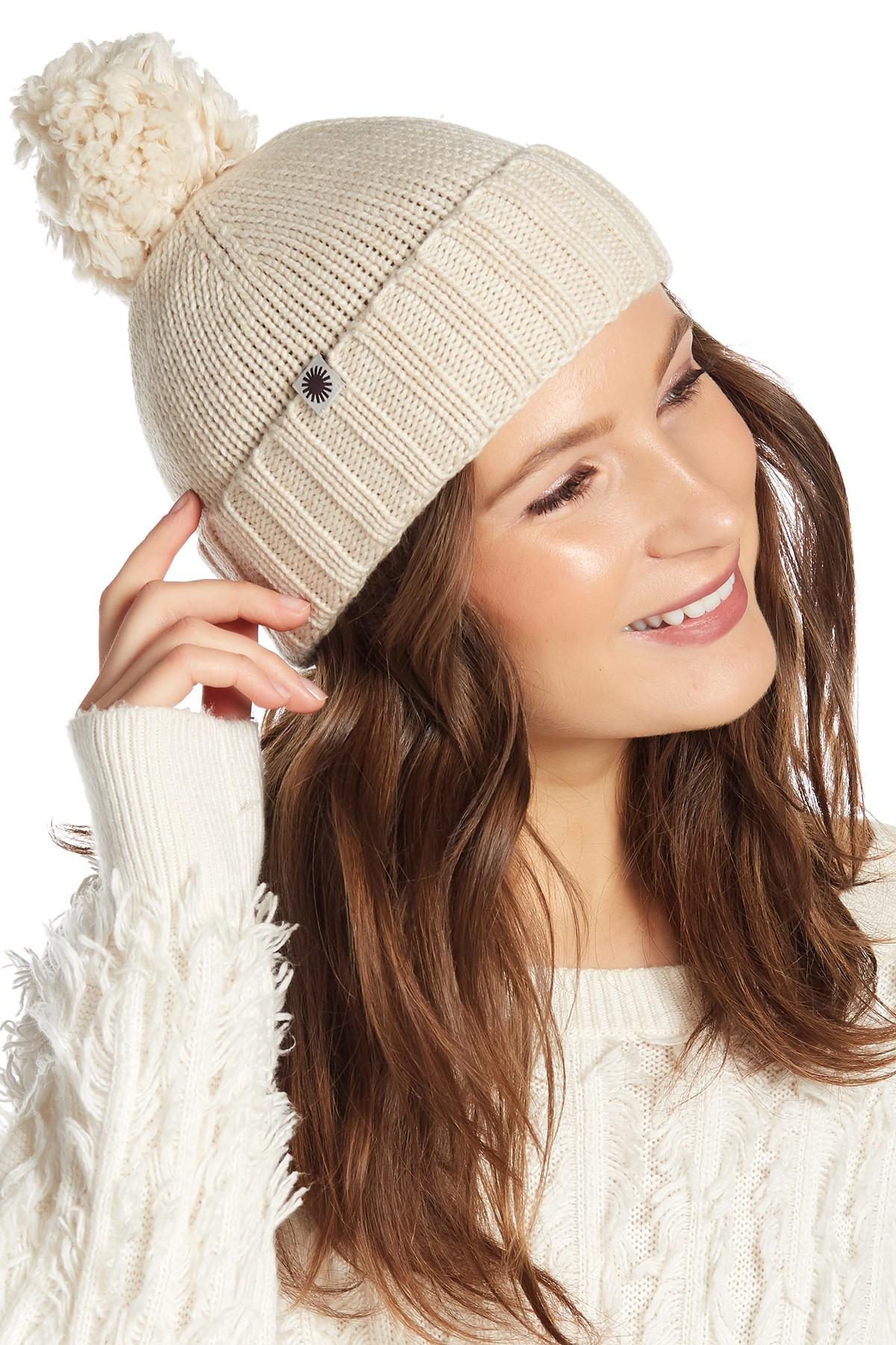 23692095d2e Lyst - UGG Knit Pompom Beanie in Brown