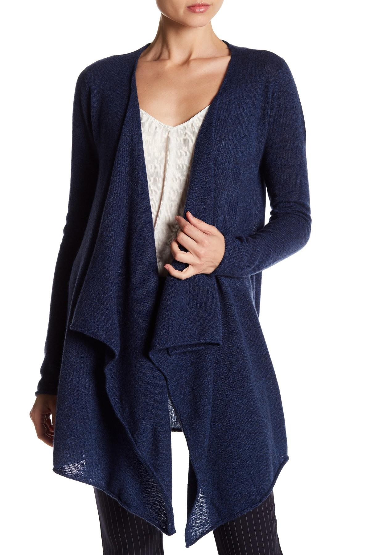 Philosophy cashmere Cashmere Waterfall Front Cardigan in Blue | Lyst
