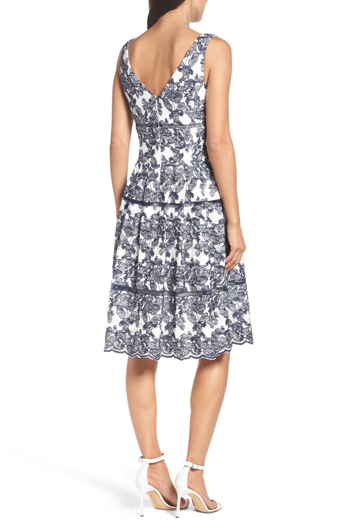 Lyst - Eliza J Embroidered Lace Midi Dress in Blue 1dd0c0d8e