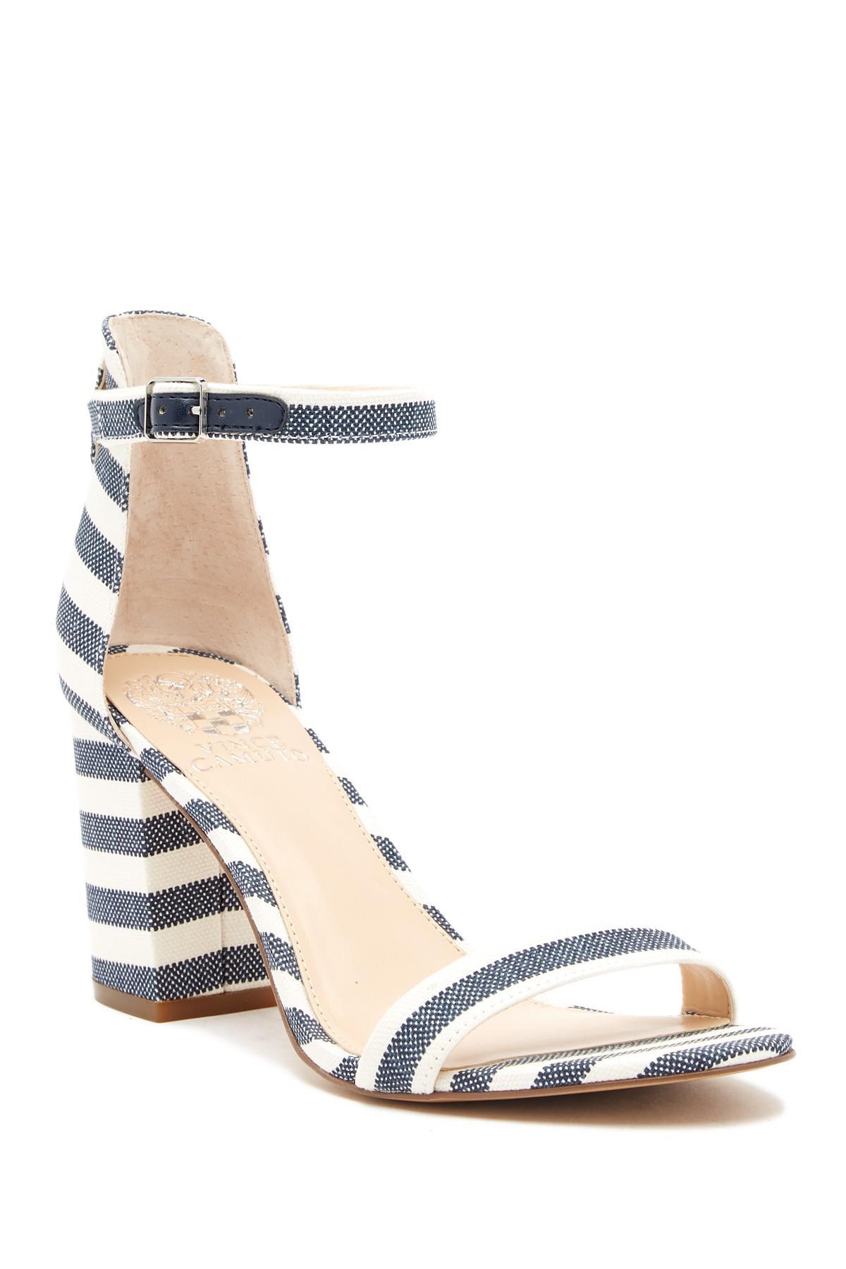 7b47c11e151 Vince Camuto Beah Block Heel Ankle Strap Sandal in Blue - Lyst