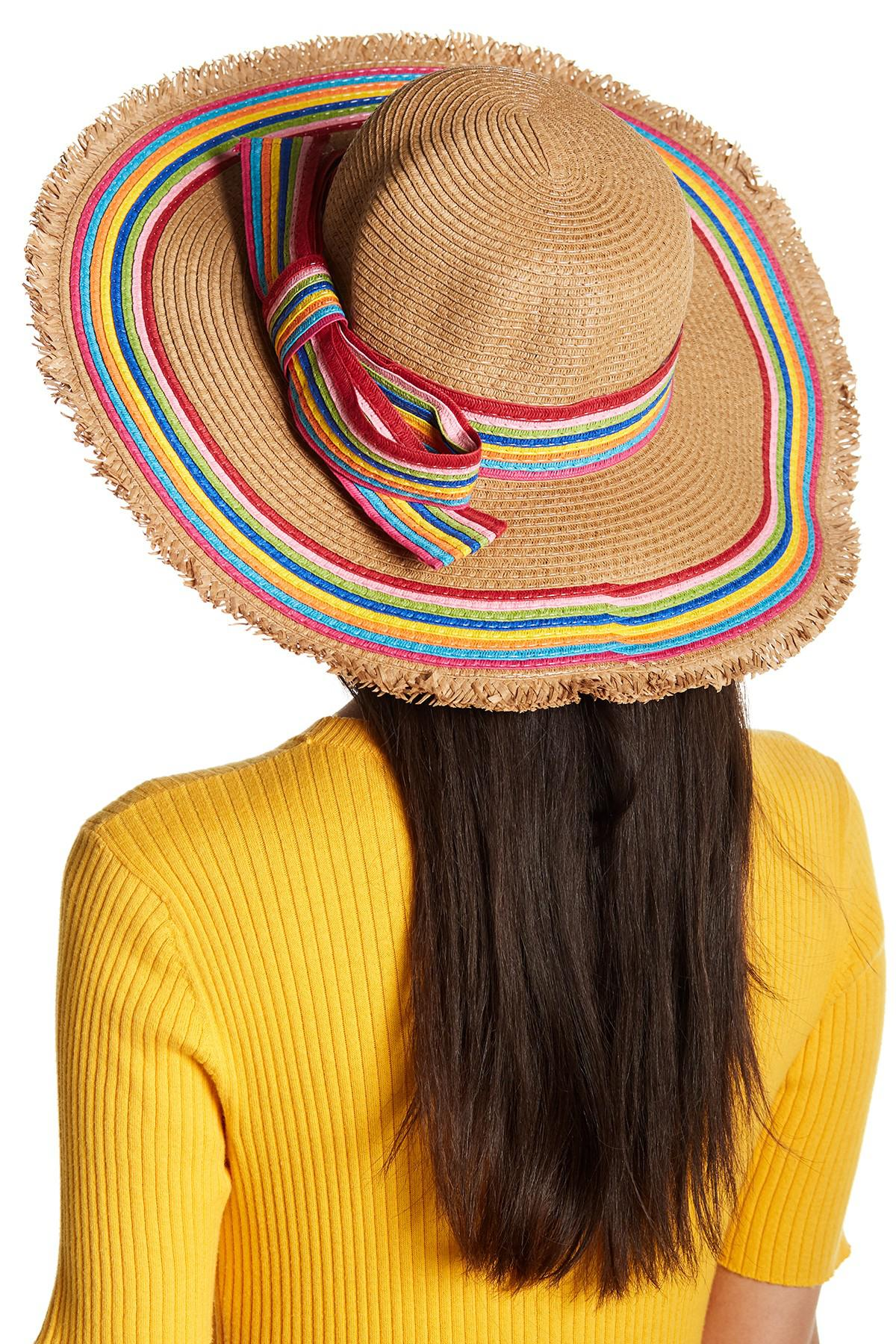Lyst - Betsey Johnson Rainbow Raw Edge Floppy Hat 2e0bdee54bc