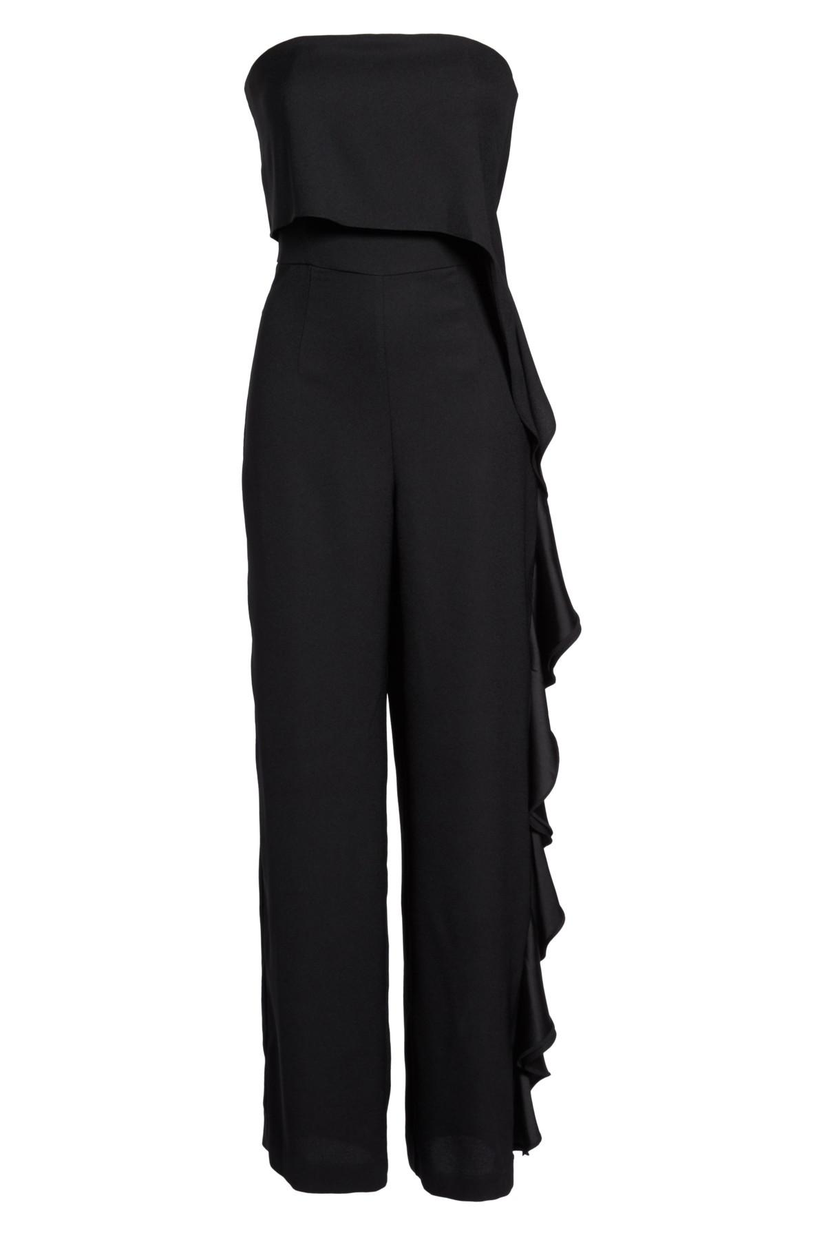 db1c13ebd82 Lyst - Eliza J Ruffle Side Strapless Jumpsuit in Black