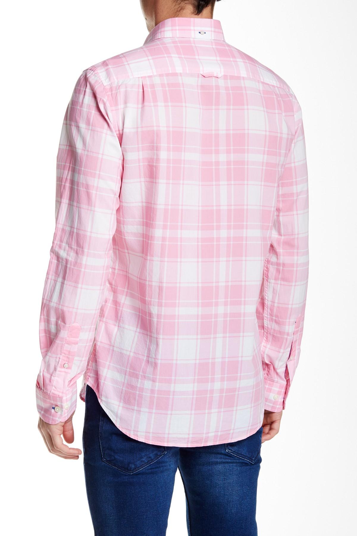 lyst gant rugger l bel air plaid long sleeve fitted shirt in pink for men. Black Bedroom Furniture Sets. Home Design Ideas