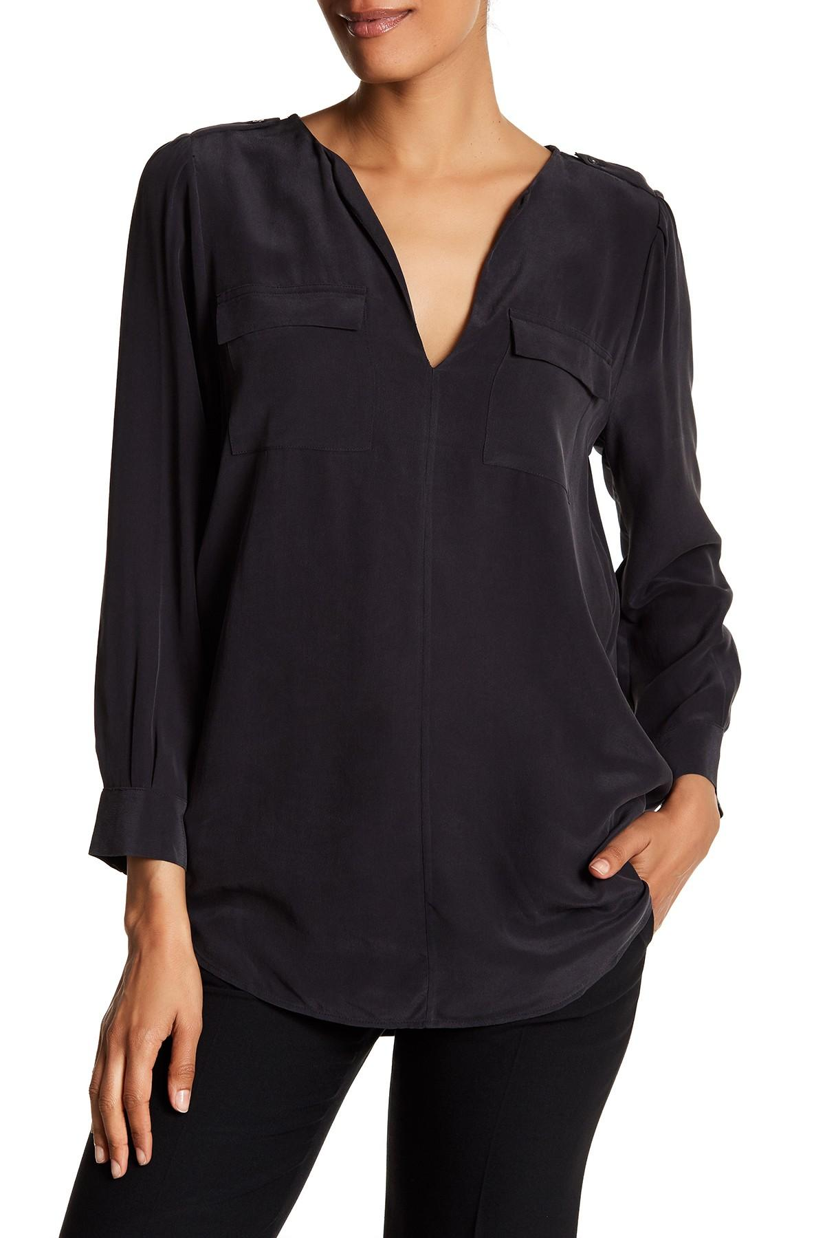 Joie marlo silk long sleeve shirt in black lyst for Silk long sleeve shirt