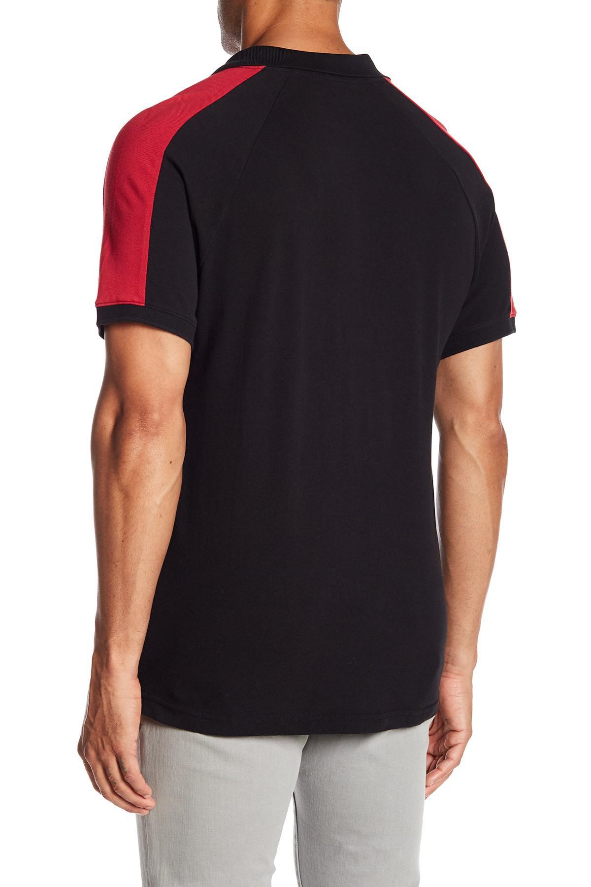 Lyst True Religion Short Sleeve Raglan Panel Polo In Black For Men