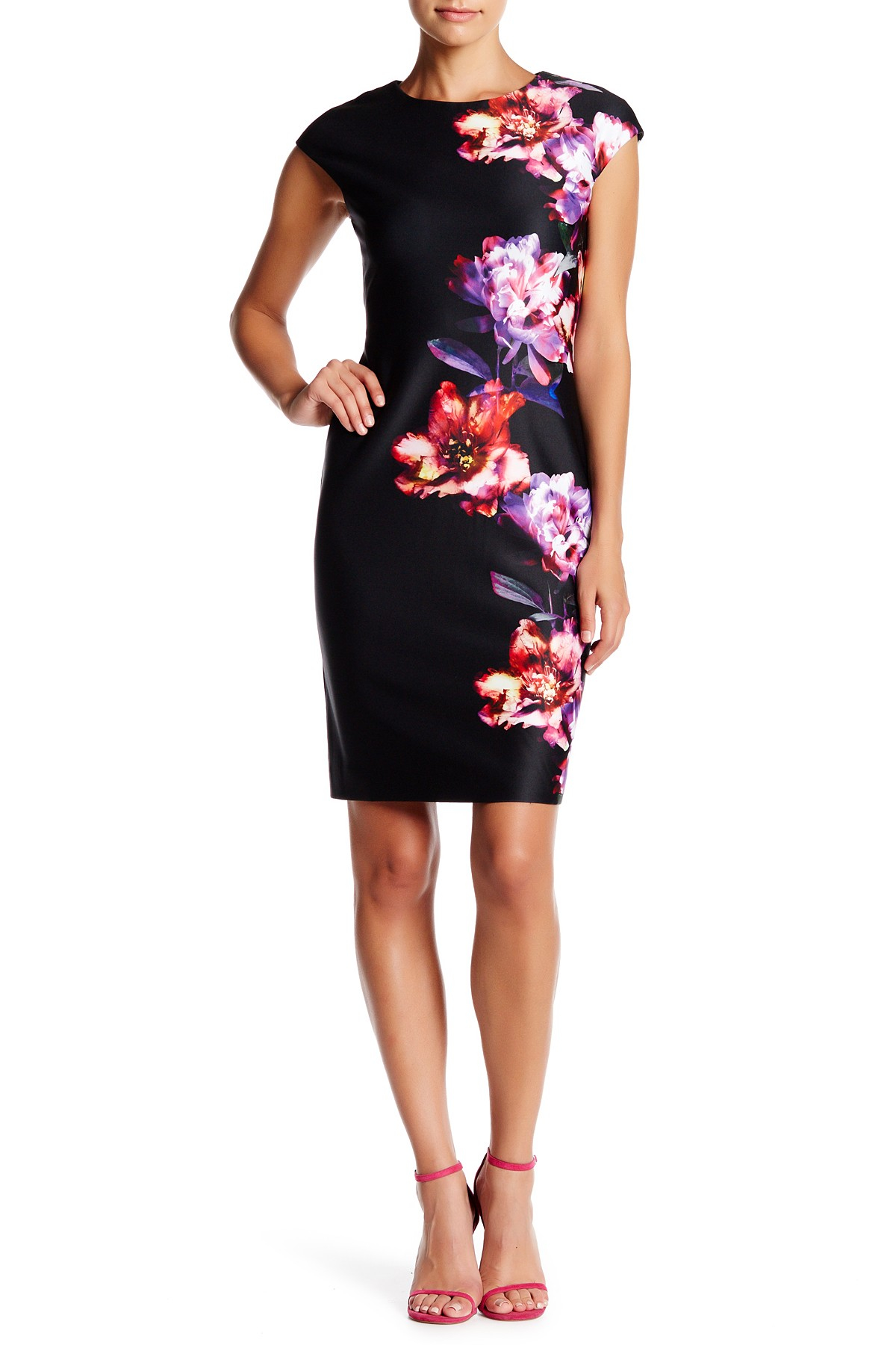 Julia jordan Cap Sleeve Floral Scuba Sheath Dress in Black ...