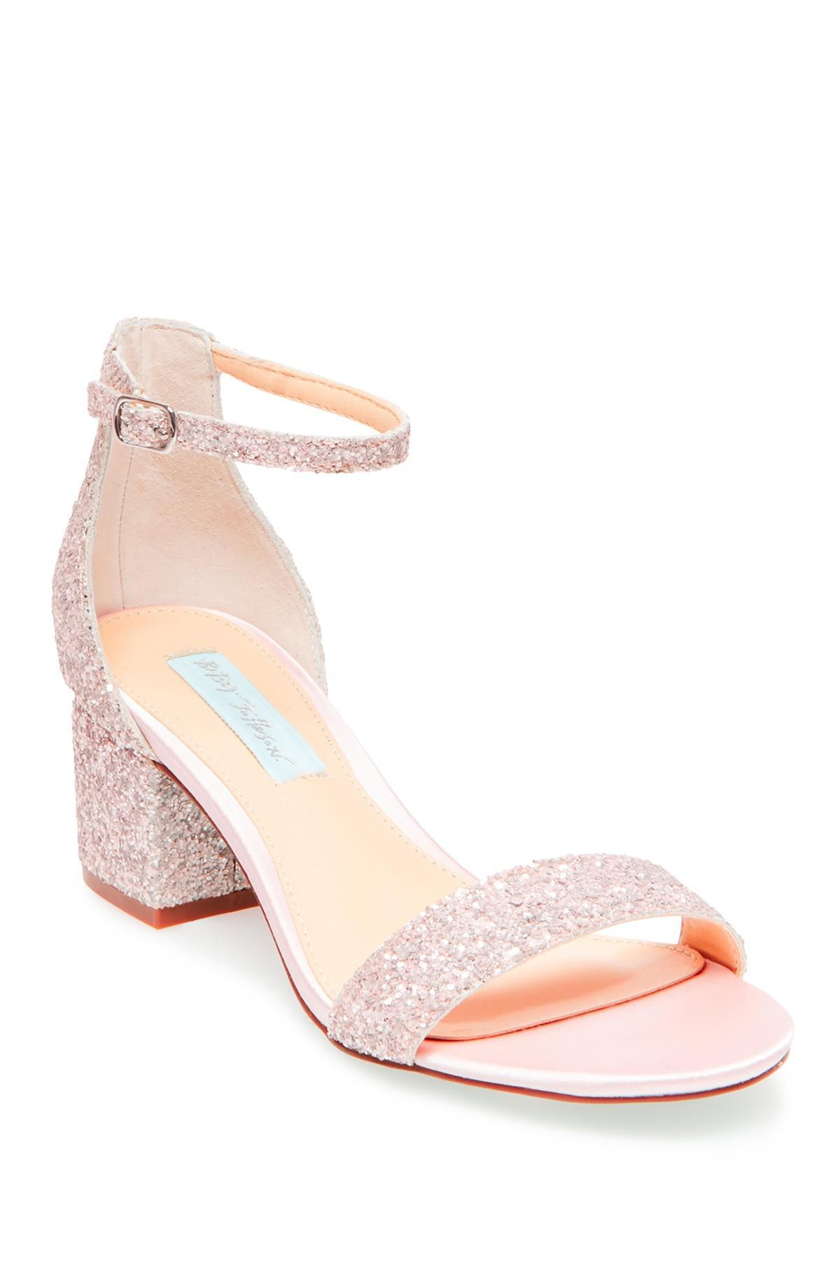 9f5f8f1014b Lyst - Betsey Johnson Jayce Glitter Block Heel Sandal in Pink