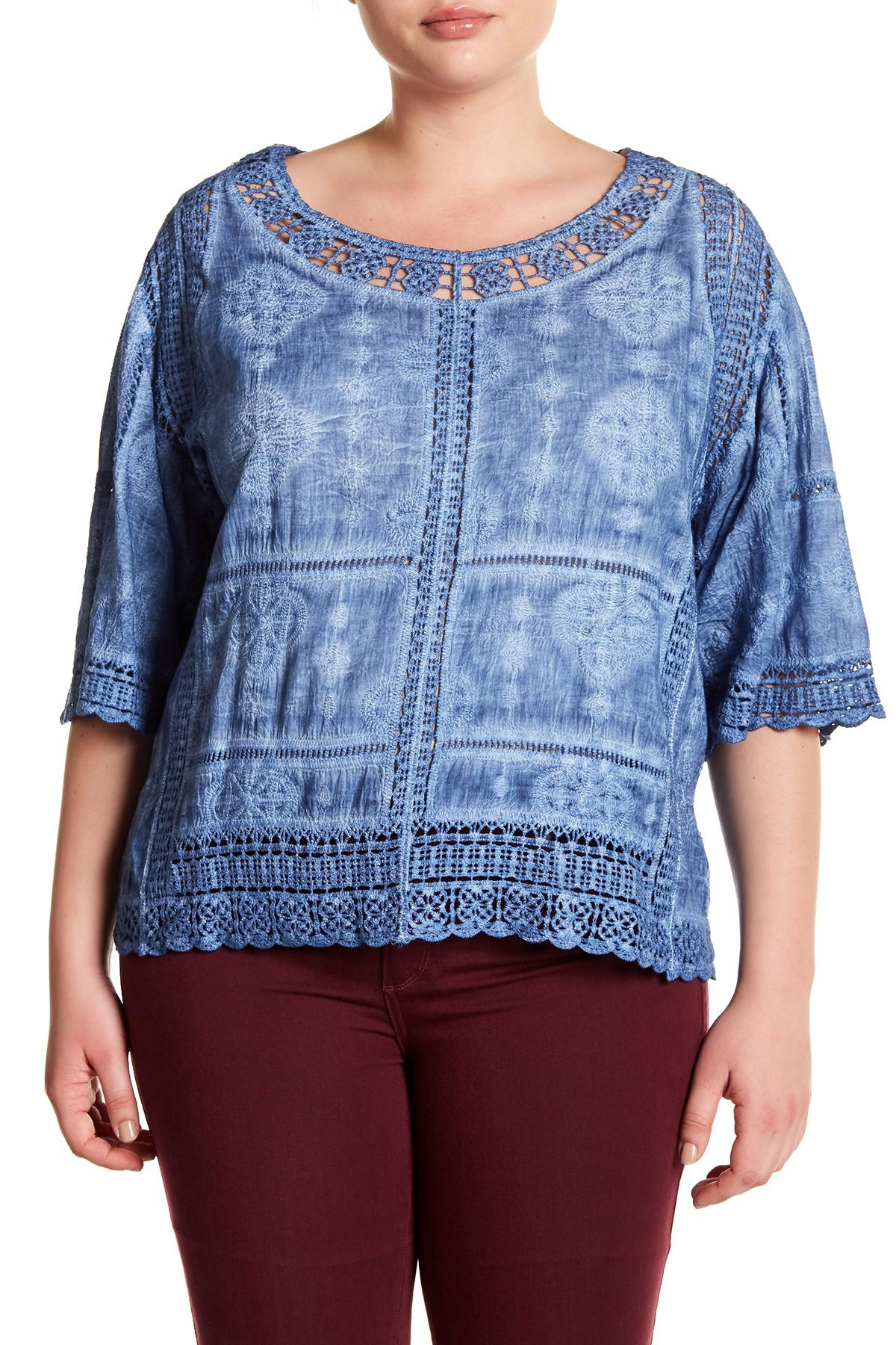 b3a26fcdc51 Lyst - Democracy Crochet Lace Scalloped Blouse (plus Size) in Blue
