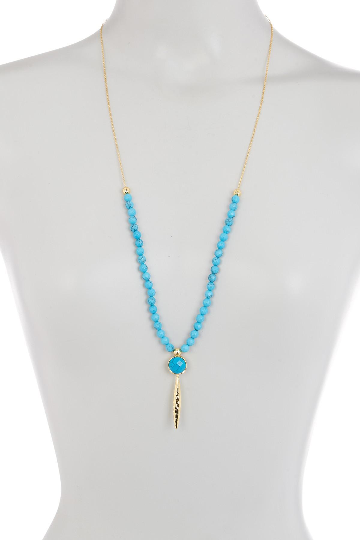 Gorjana Gypset Adjustable Turquoise Beaded Dagger Necklace vztFV41v6