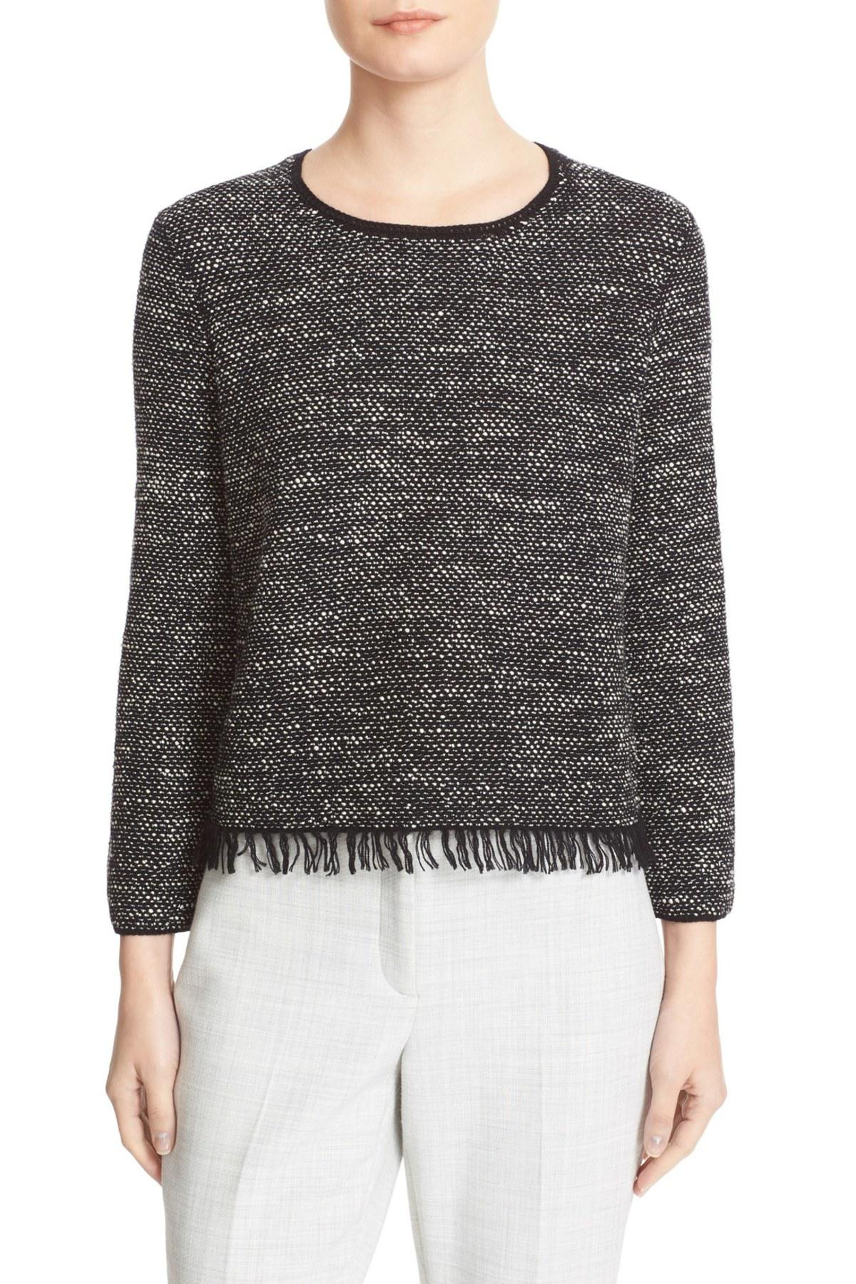 Black Sweater Fringe Lyst Tweed Vendla In Theory PBqSUwz