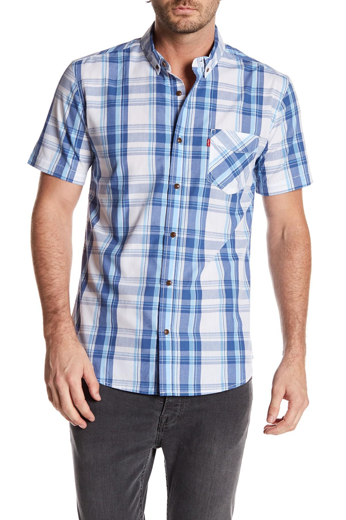 Levi 39 S Bardley Short Sleeve Plaid Shirt In Blue For Men Lyst