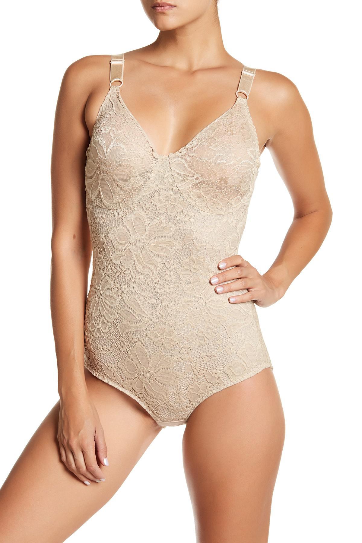 b8c0d653b4 Lyst - Joan Vass Floral Lace Control Bodysuit (plus Size Available ...