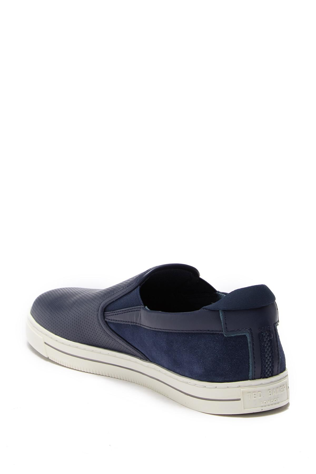 064306910 Lyst - Ted Baker Patroy Perforated Slip-on Sneaker in Blue for Men