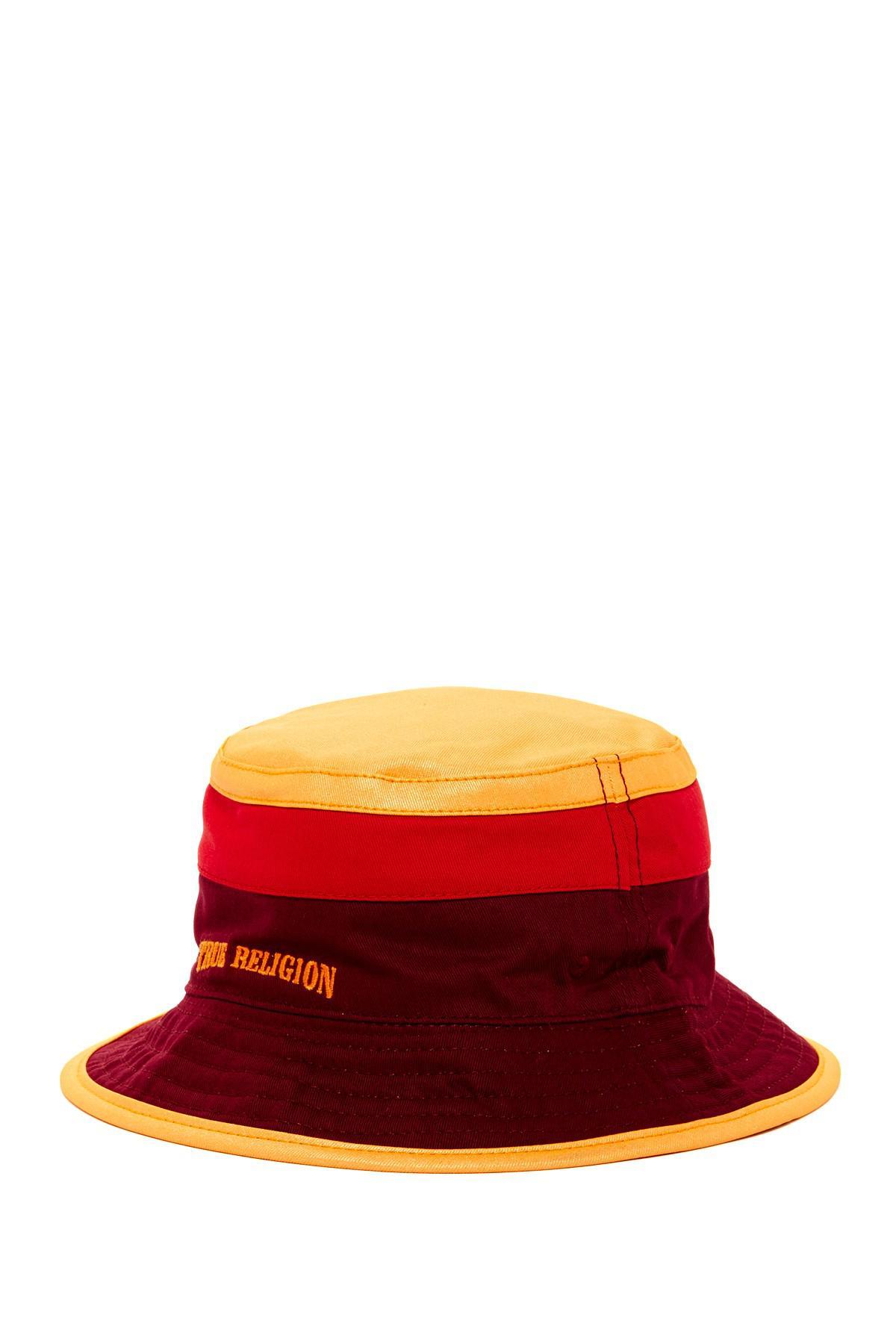 Lyst - True Religion Reversible Colorblock Bucket Hat in Red 8a898c93e9e2