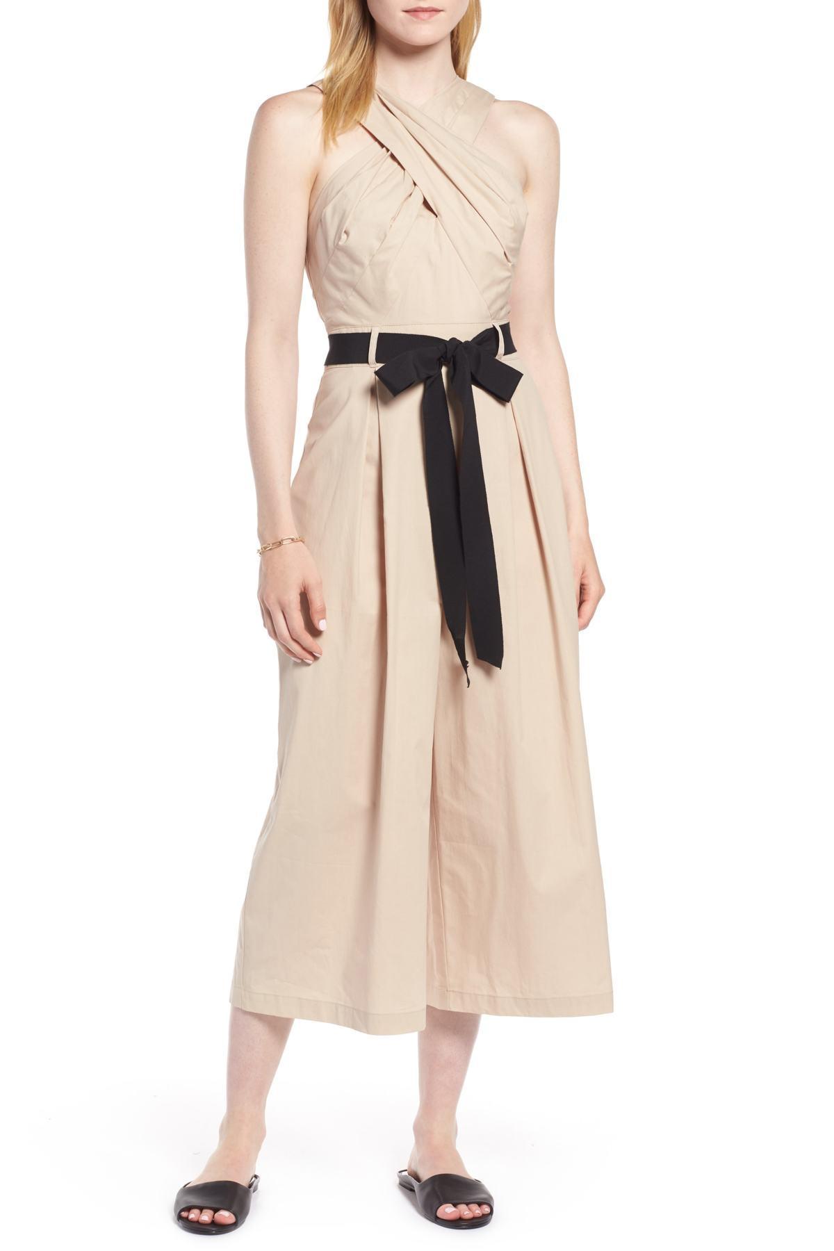 a5d849391a1 Lyst - 1901 Cross Front Cotton Jumpsuit (regular   Petite) in Natural
