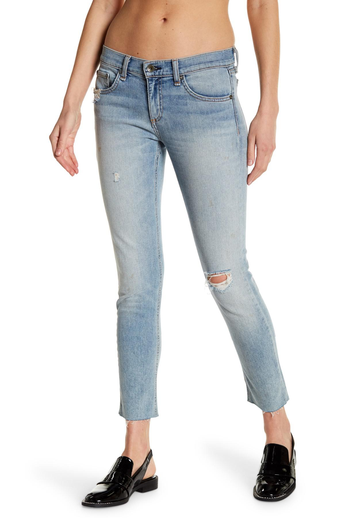 dc08e3cc Lyst - Rag & Bone Dre Raw Hem Jeans in Blue