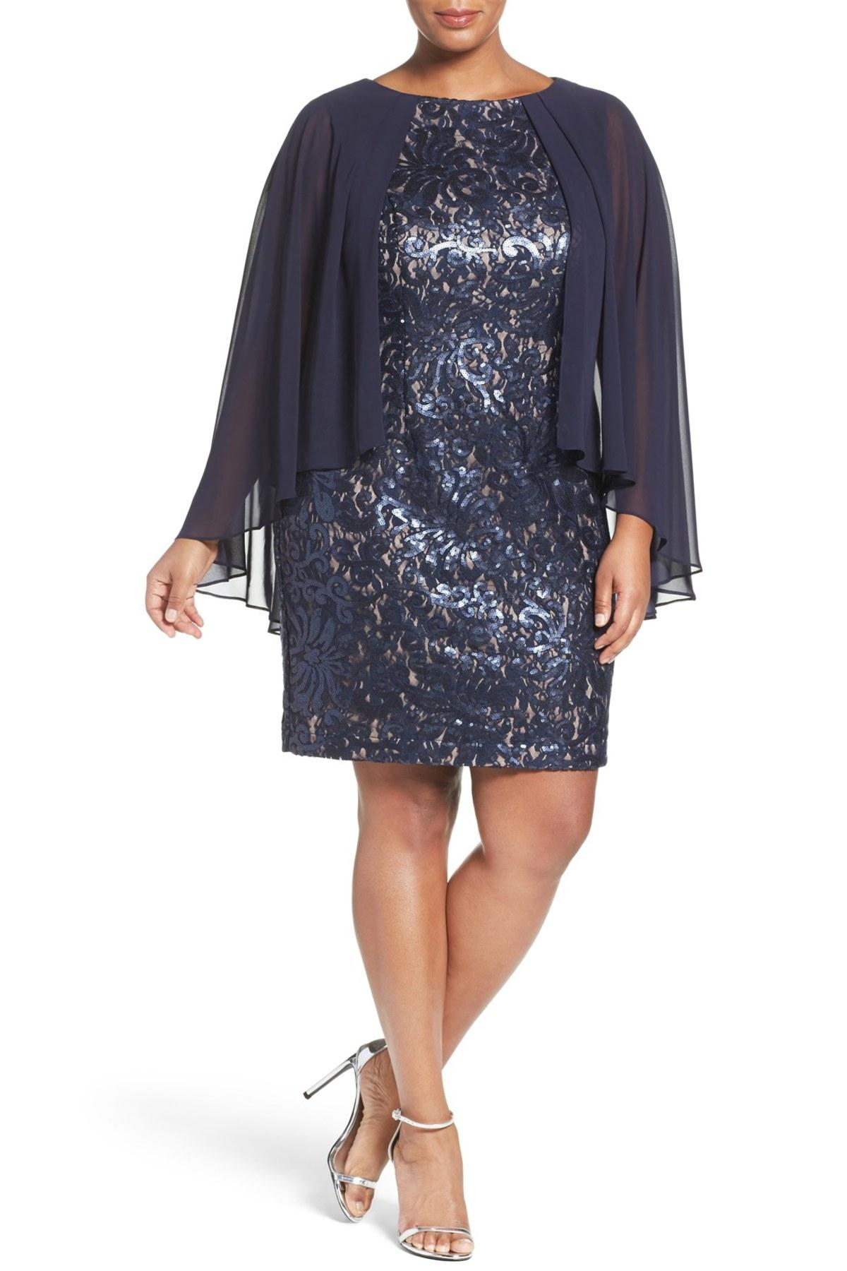 Lyst Alex Evenings Capelet Lace Shift Dress In Blue